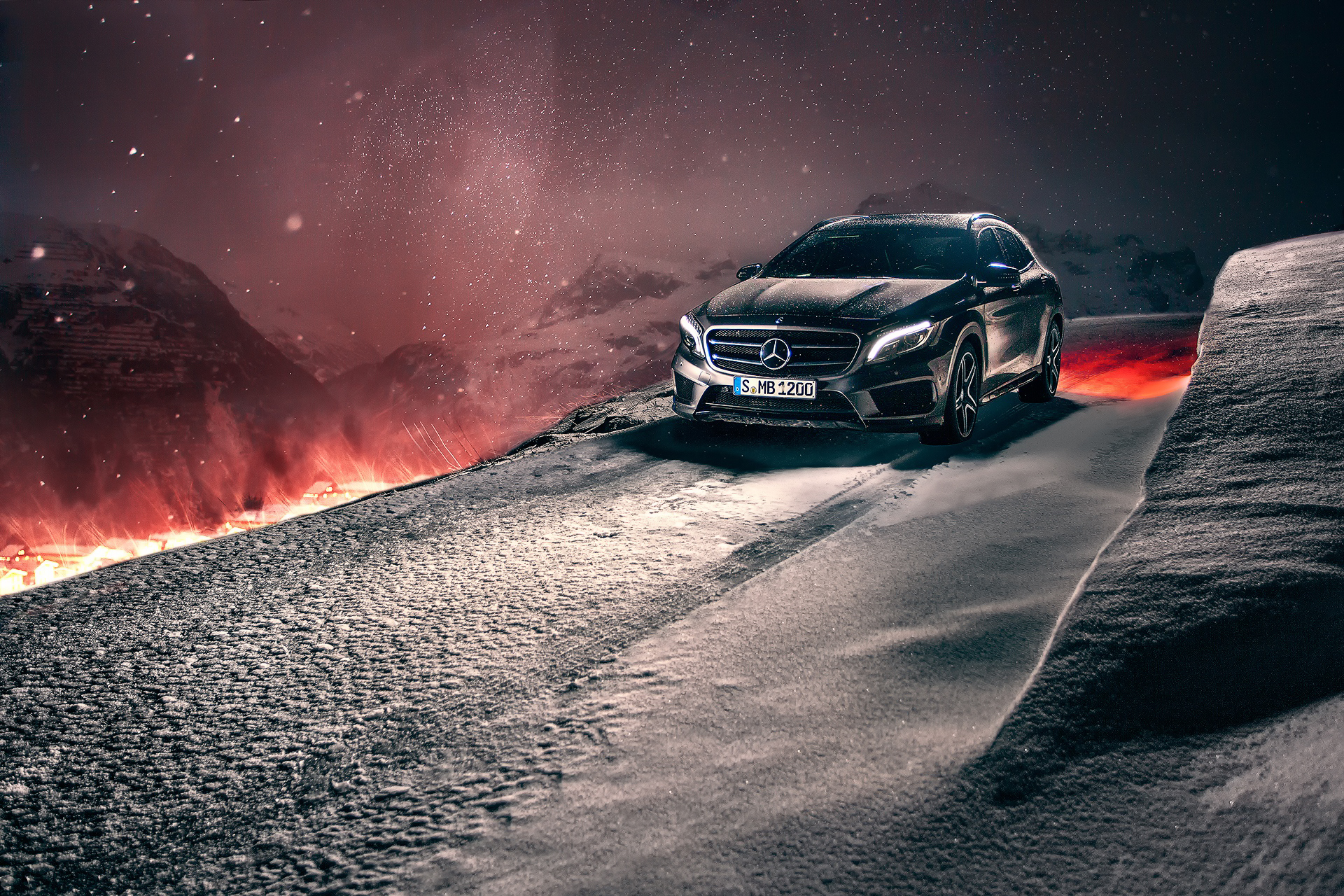 69586 download wallpaper Winter, Snow, Cars, Concept, Mercedes-Benz, Crossover, Gla screensavers and pictures for free
