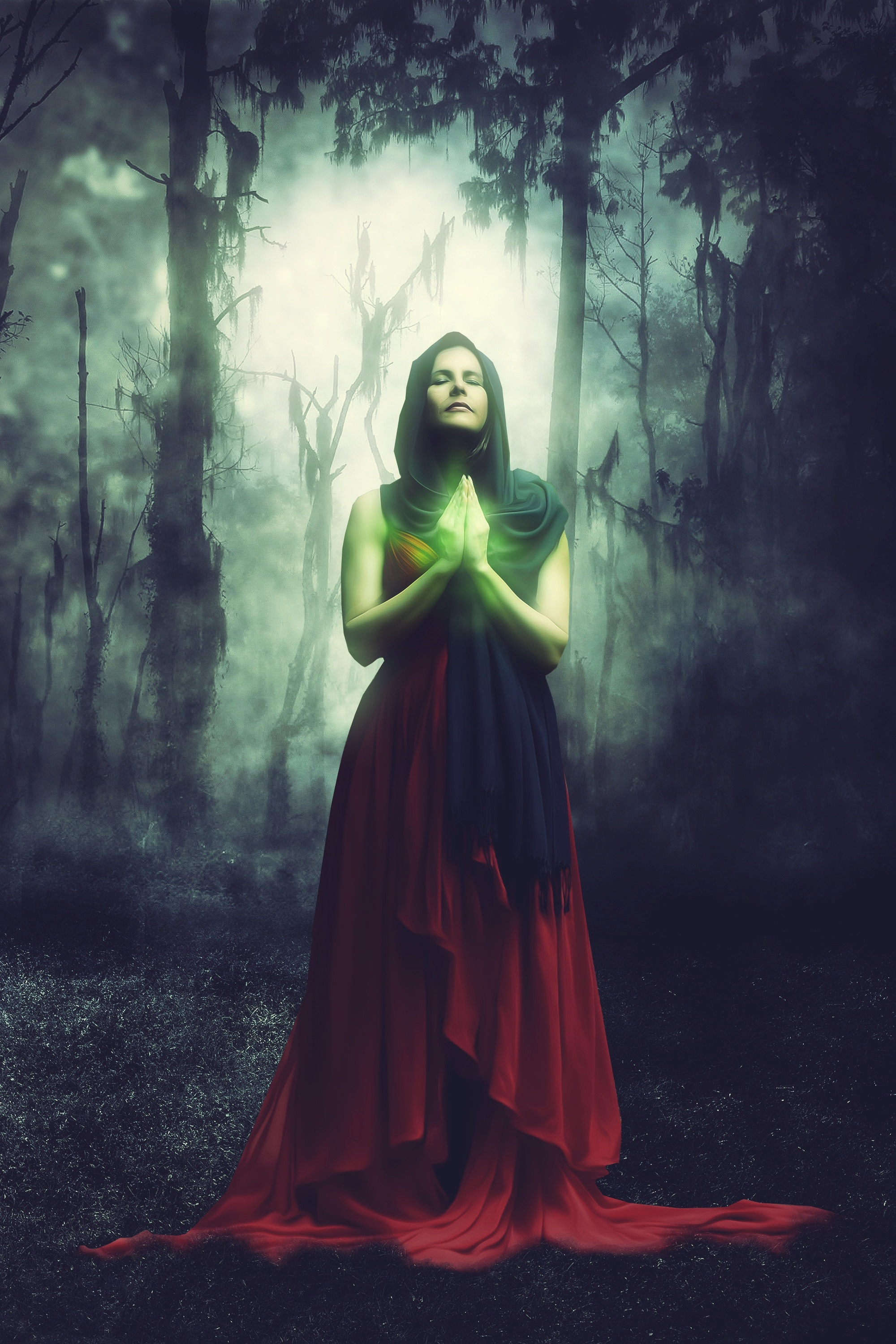 69382 download wallpaper Fantasy, Female, Woman, Magician, Magus, Magic, Forest, Surreal screensavers and pictures for free