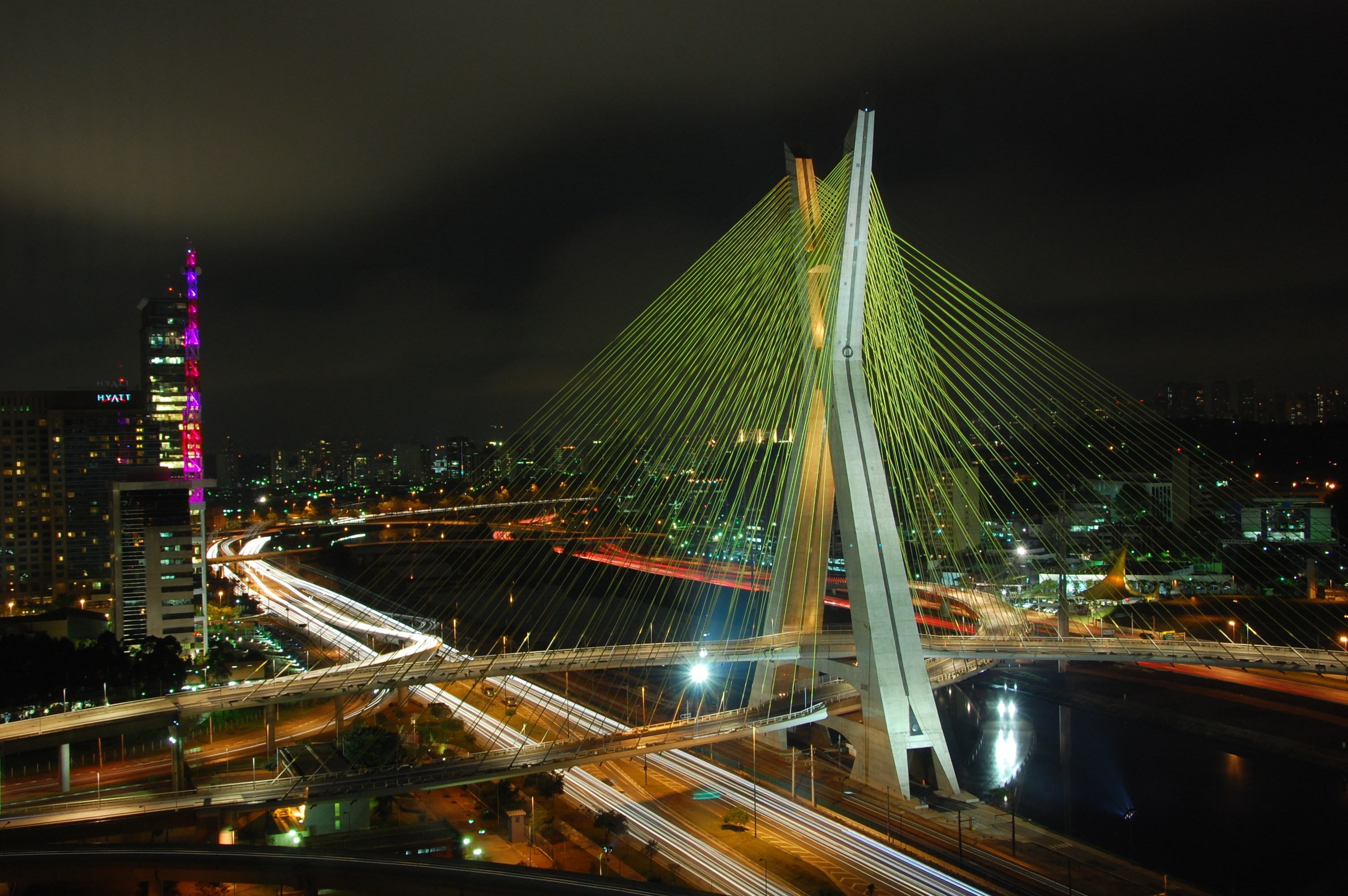 112362 download wallpaper Cities, Rivers, Bridges, City, Lights, Road, Brazil screensavers and pictures for free