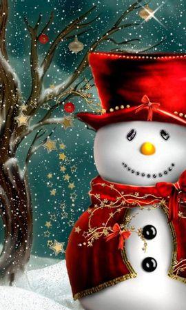121718 скачать обои Праздники, Снеговик, Одежда, Дерево, Снег - заставки и картинки бесплатно
