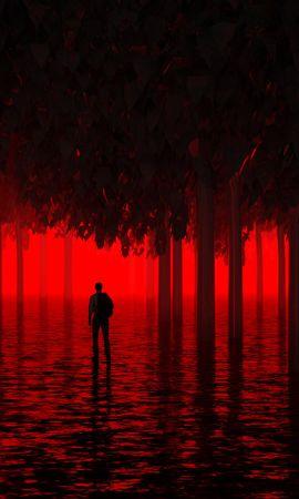 74890 Заставки и Обои Темные на телефон. Скачать Темные, Вода, Деревья, Человек, Красный, Неон, Свет, Затопленный картинки бесплатно