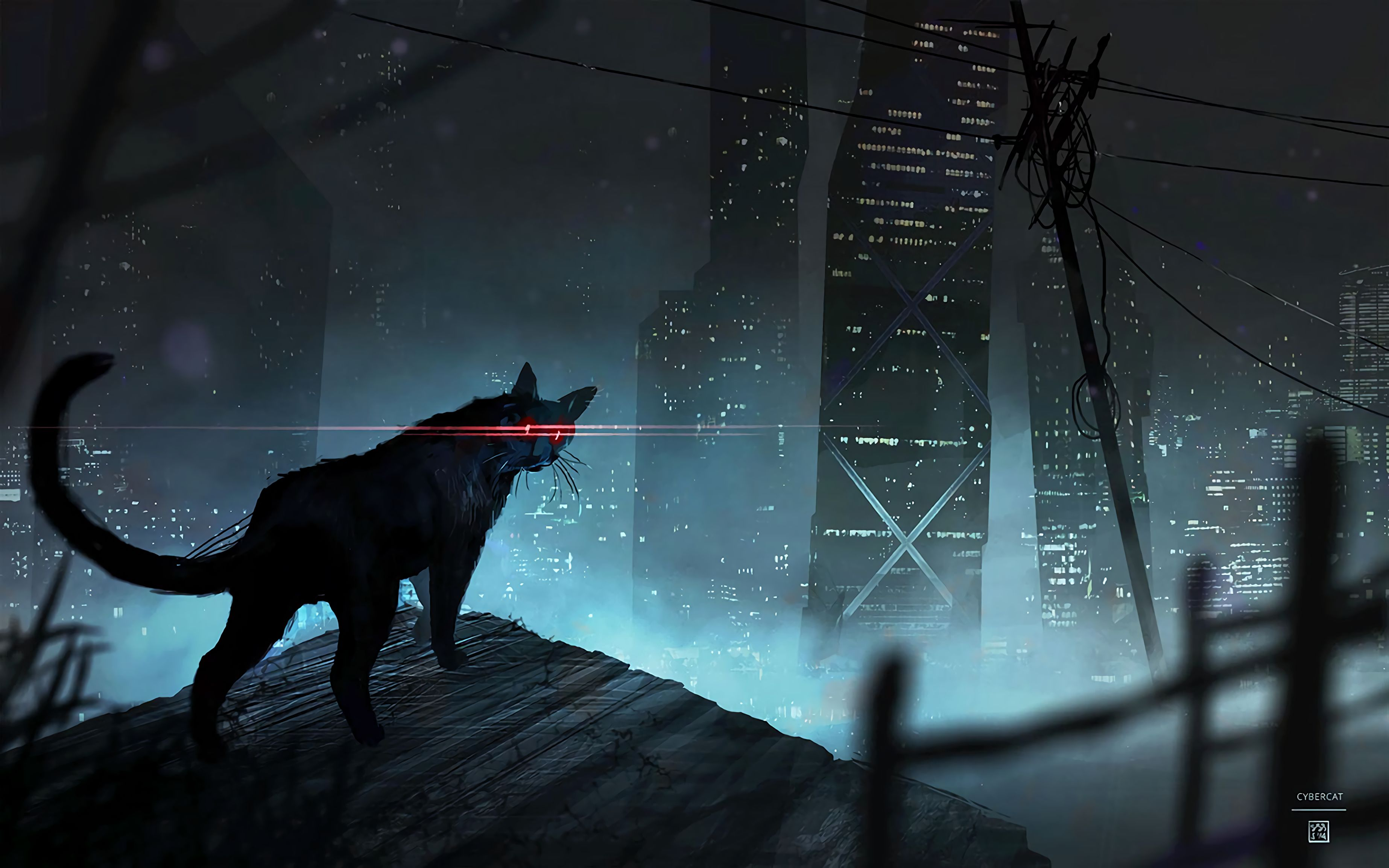 121082 download wallpaper Cat, Black Cat, Eyes, Beams, Rays, Art screensavers and pictures for free