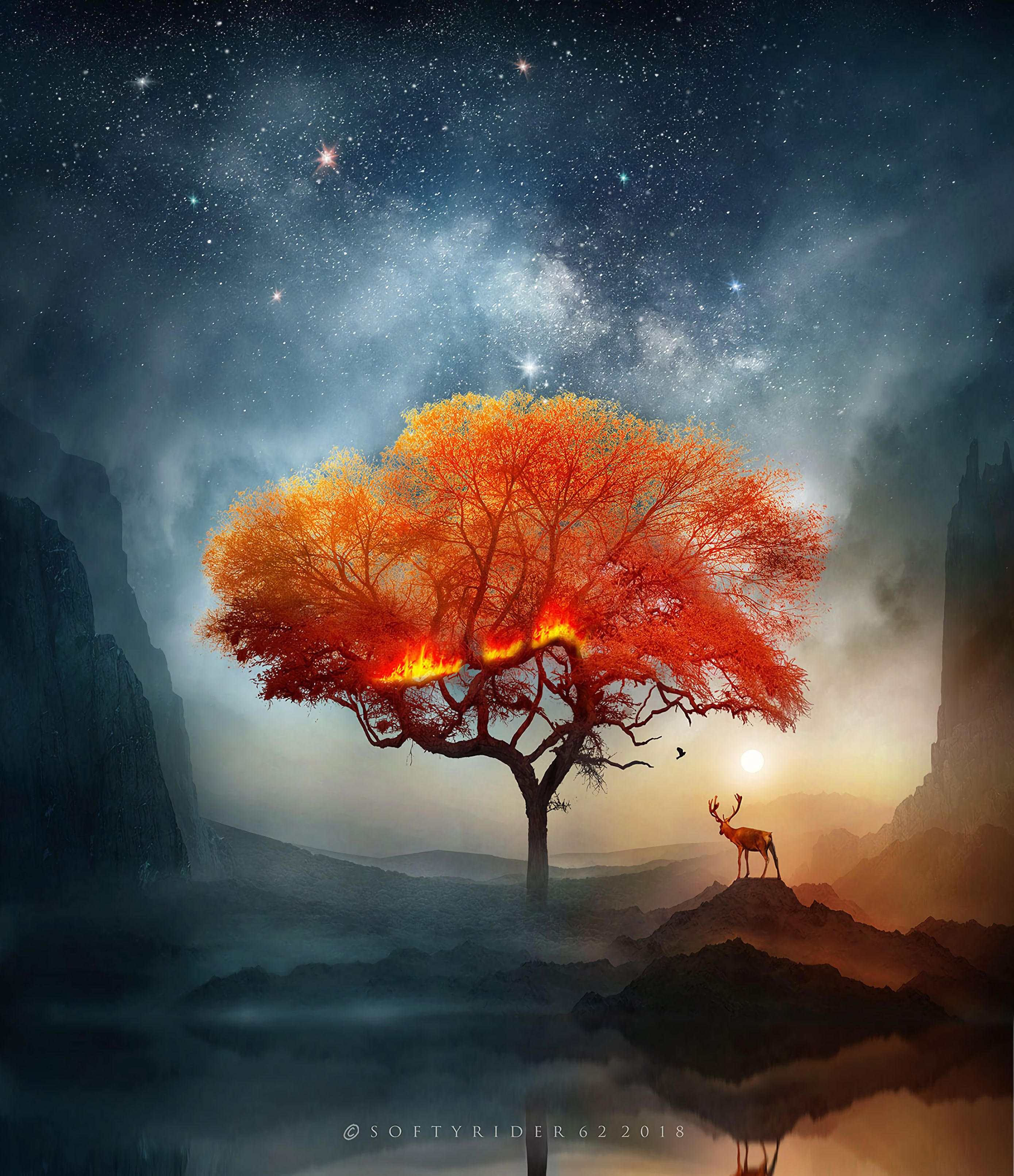 122614 download wallpaper Deer, Wood, Tree, Art, Fire, Fantastic screensavers and pictures for free