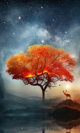 122614 завантажити шпалери Олень, Дерево, Арт, Вогонь, Фантастичний - заставки і картинки безкоштовно
