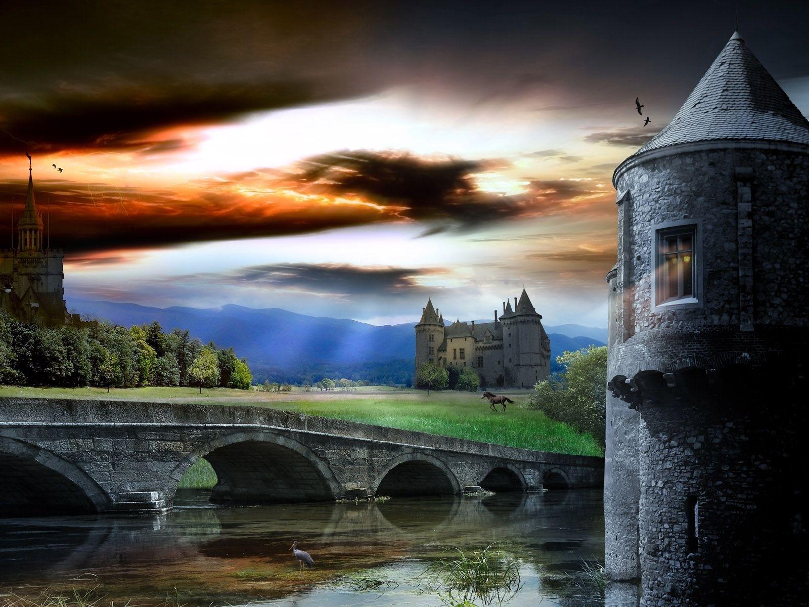 4643 скачать обои Замки, Пейзаж, Мосты, Река, Архитектура - заставки и картинки бесплатно