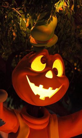 74433 download wallpaper Holidays, Halloween, Holiday, Wood, Tree, Shine, Light, Eyes, Cartoon, Hero screensavers and pictures for free