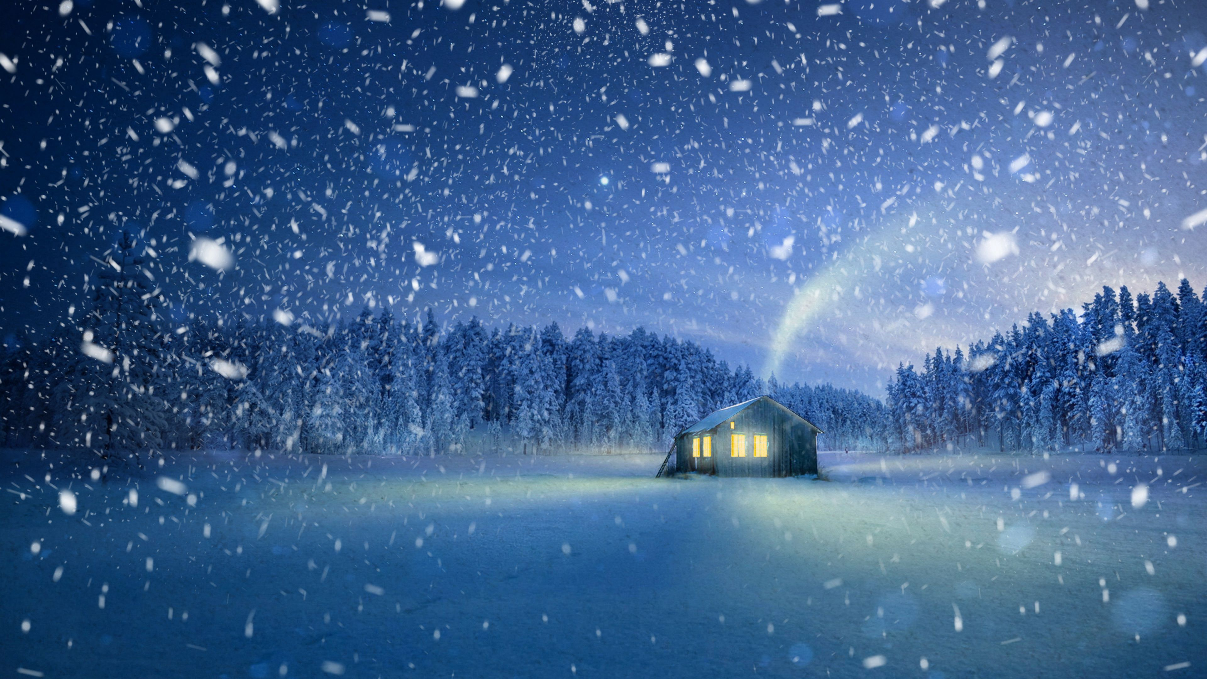 60062 Screensavers and Wallpapers Small House for phone. Download Magic, Nature, Snow, Small House, Lodge, Fairy, Fabulous, Snowfall pictures for free