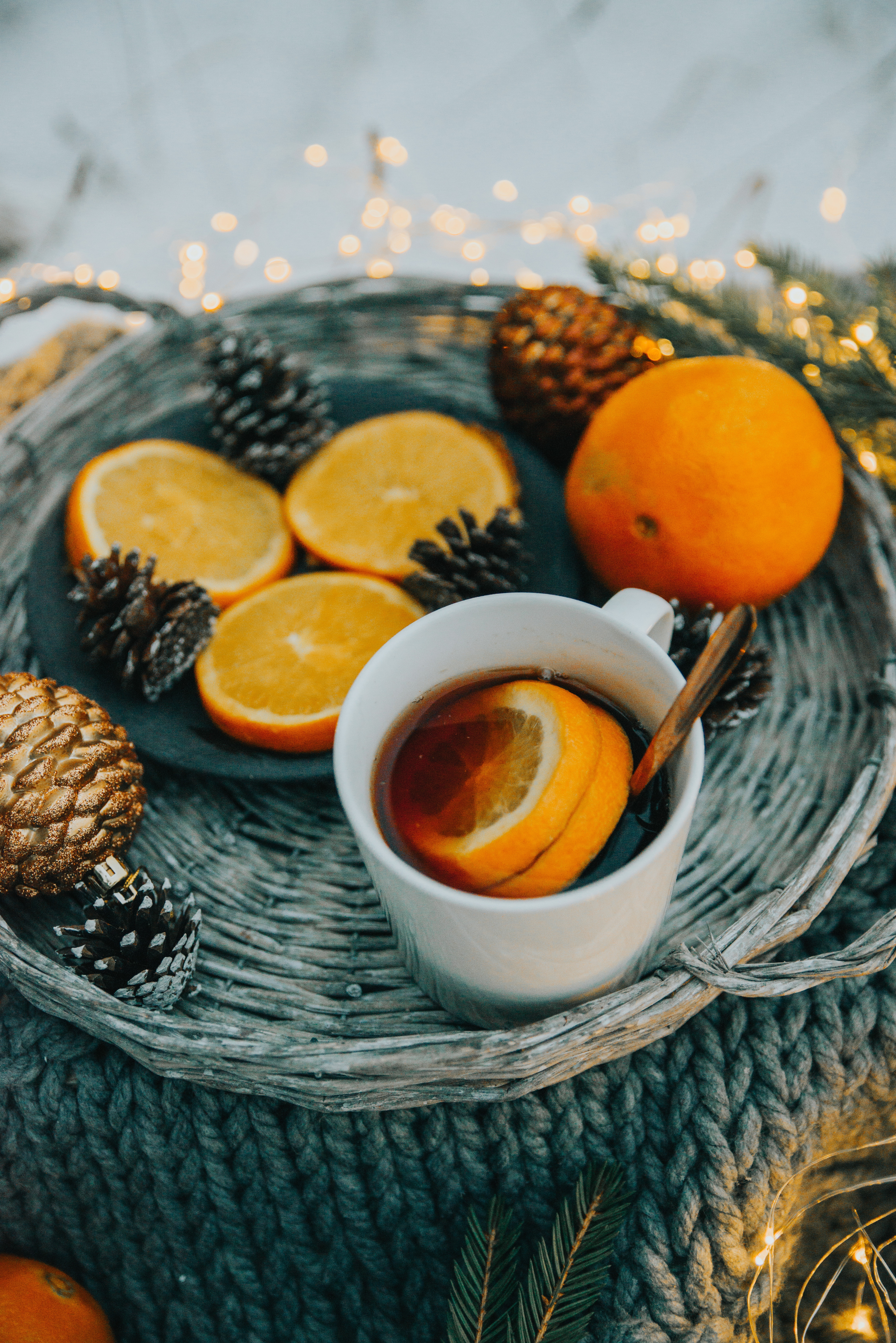 81502 download wallpaper Food, New Year, Oranges, Cup, Christmas, Coziness, Comfort, Mug screensavers and pictures for free