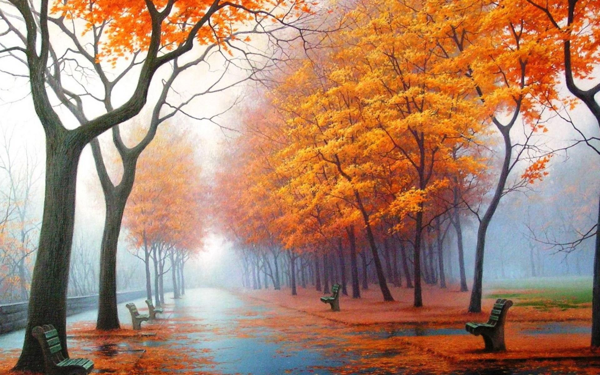 88103 download wallpaper Nature, Autumn, Park, Alley, Benches, Trees, Leaf Fall, Fall, Fog, Steam, Haze, Track, Asphalt, Painting, Art screensavers and pictures for free