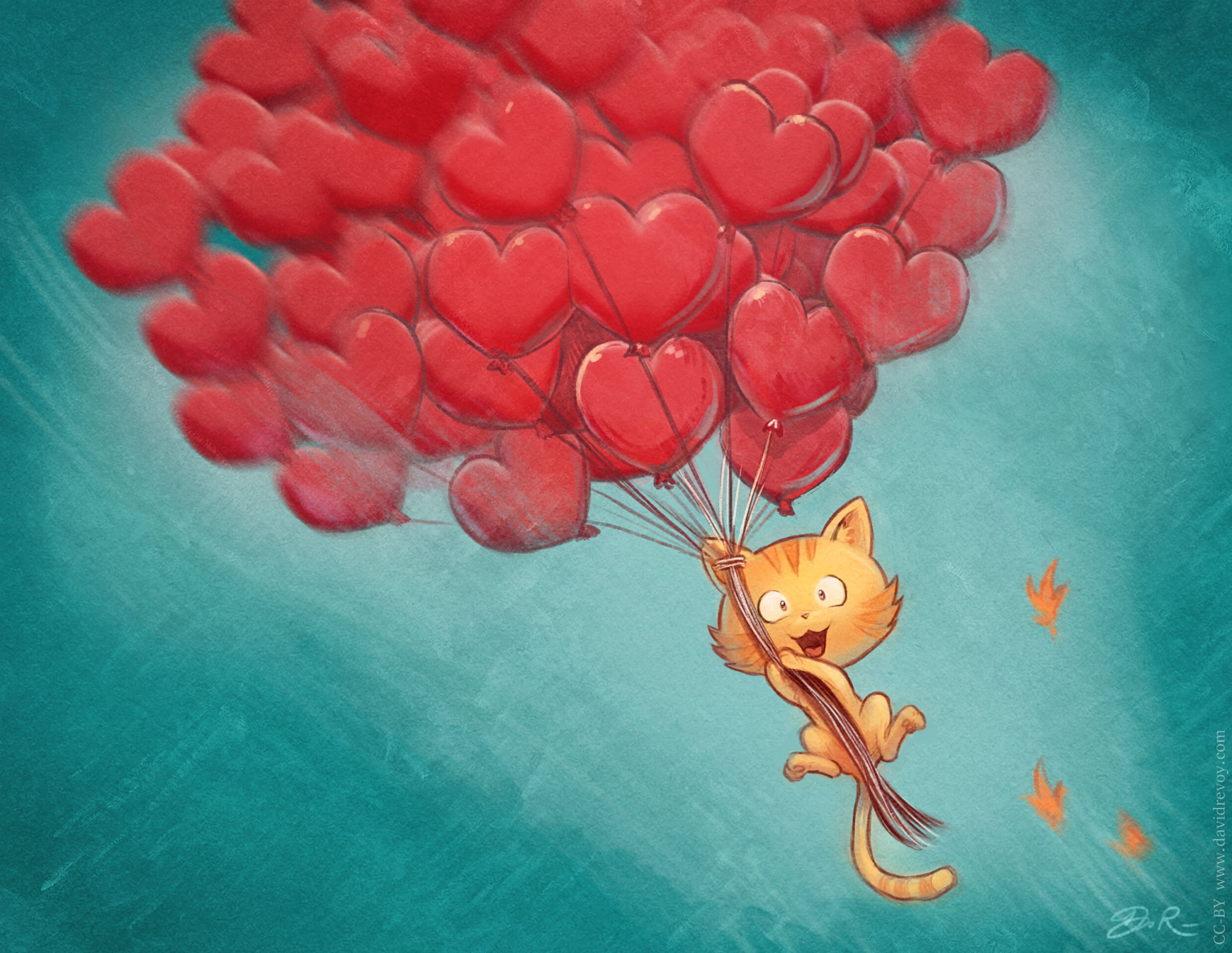 134813 download wallpaper Love, Cat, Air Balloons, Balloons, Flight, Sky, Art, Hearts screensavers and pictures for free