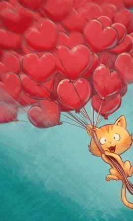 134813 télécharger le fond d'écran Amour, Chat, Ballons À Air, Ballons, Vol, Sky, Art, Cœurs - économiseurs d'écran et images gratuitement