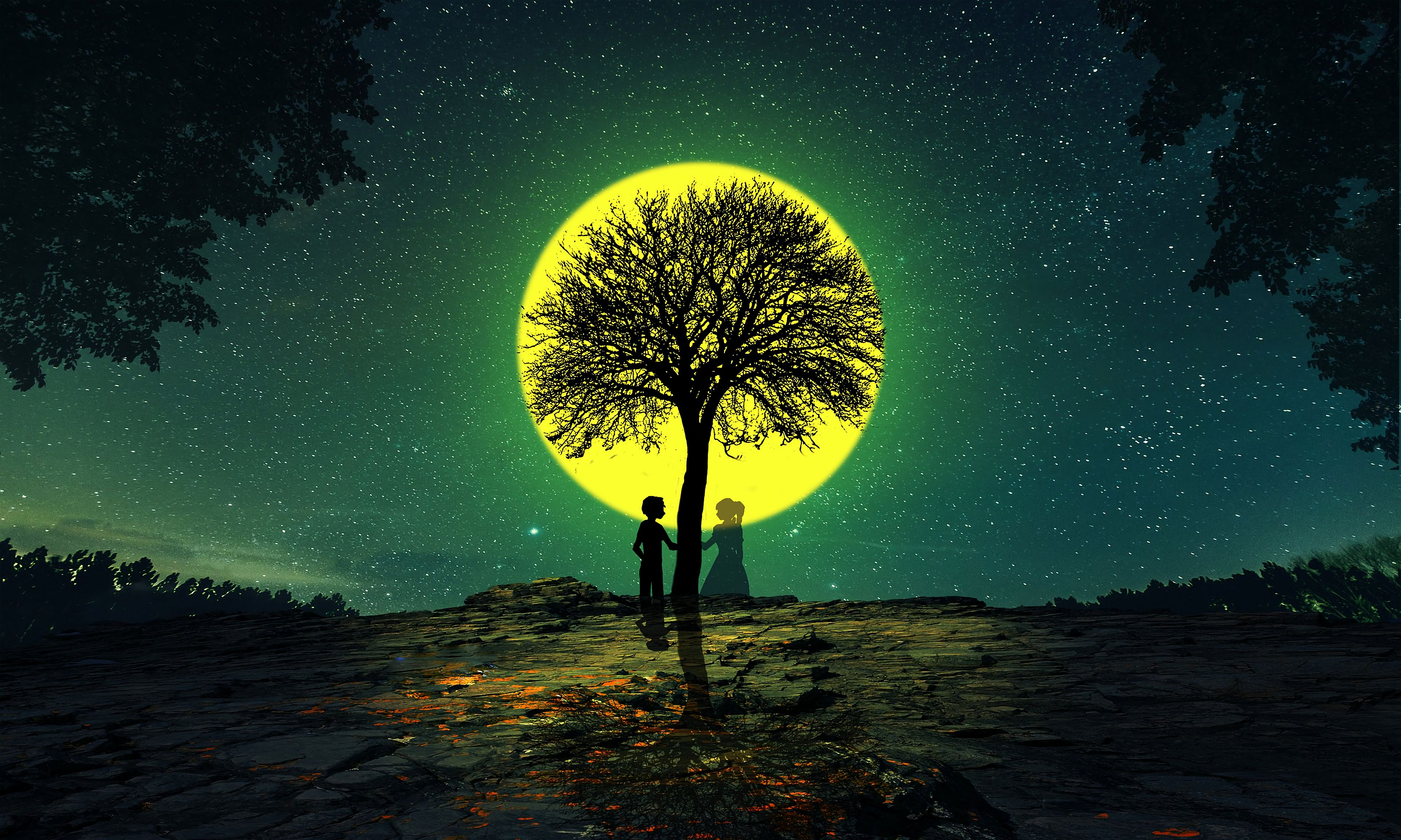 88048 скачать обои Ночь, Силуэты, Любовь, Дерево - заставки и картинки бесплатно