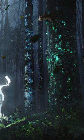 124514 Заставки и Обои Деревья на телефон. Скачать Олень, Лес, Ночь, Свечение, Арт, Трава, Деревья, Листья картинки бесплатно