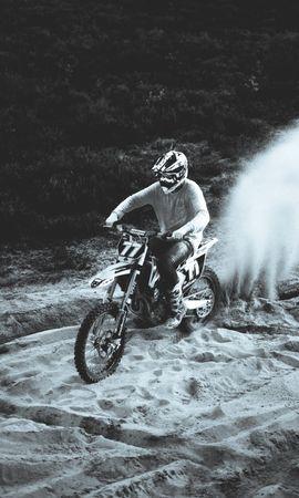 142771 télécharger le fond d'écran Moto, Motocyclette, Bicyclette, Vélo, Motocycliste, Rassemblement, Sable, Noir Et Blanc - économiseurs d'écran et images gratuitement
