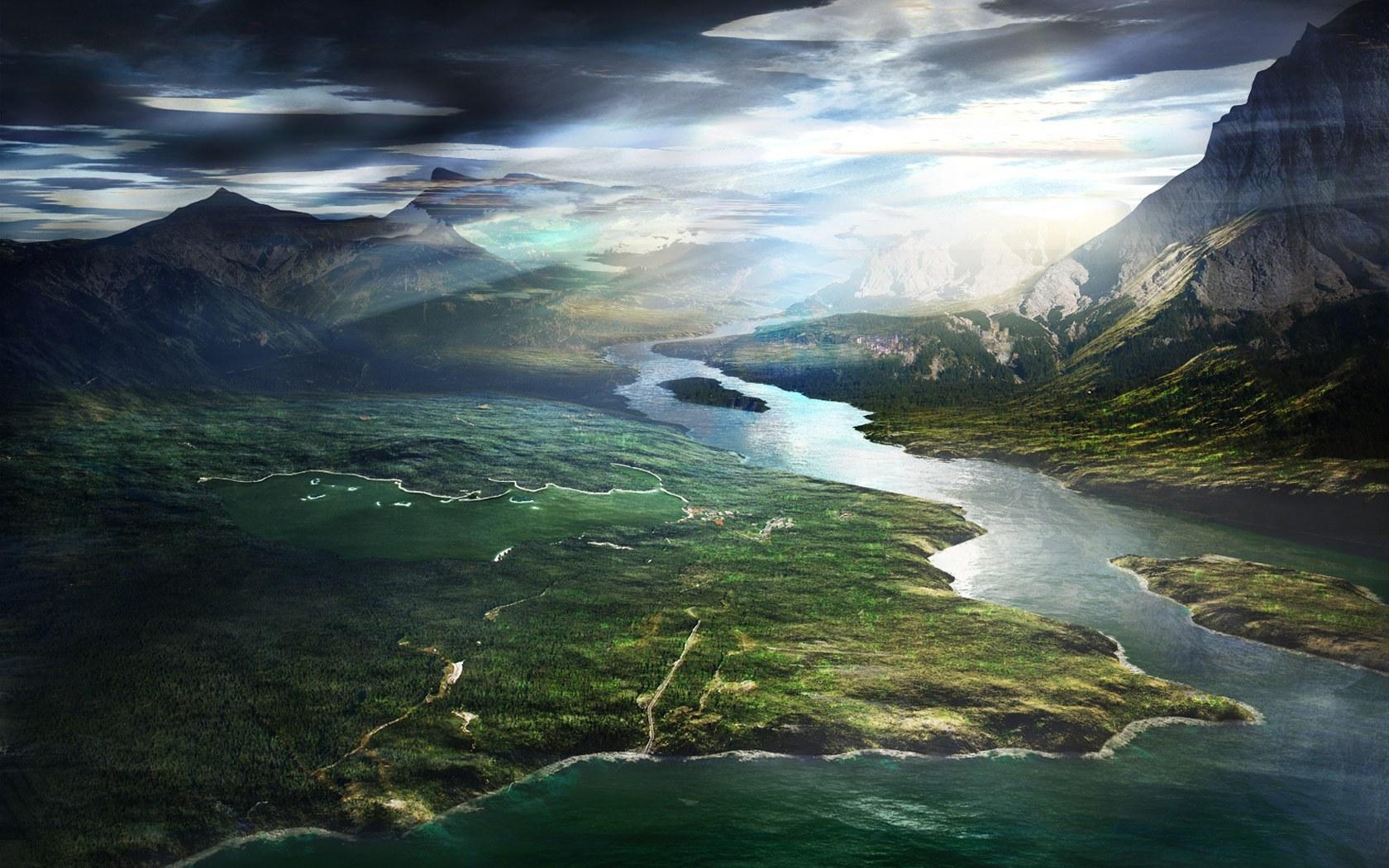 23973 скачать обои Пейзаж, Река, Небо, Горы - заставки и картинки бесплатно
