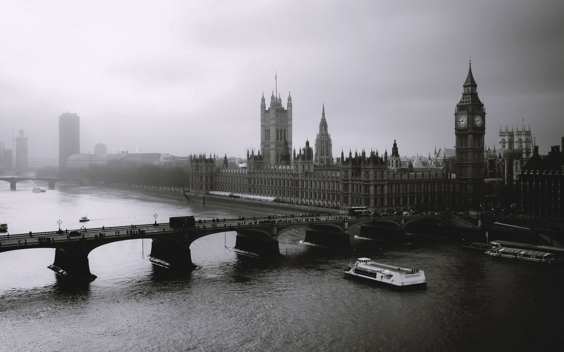 107551 download wallpaper Cities, Rivers, London, Big Ben, Fog, Bridge, Bw, Chb screensavers and pictures for free