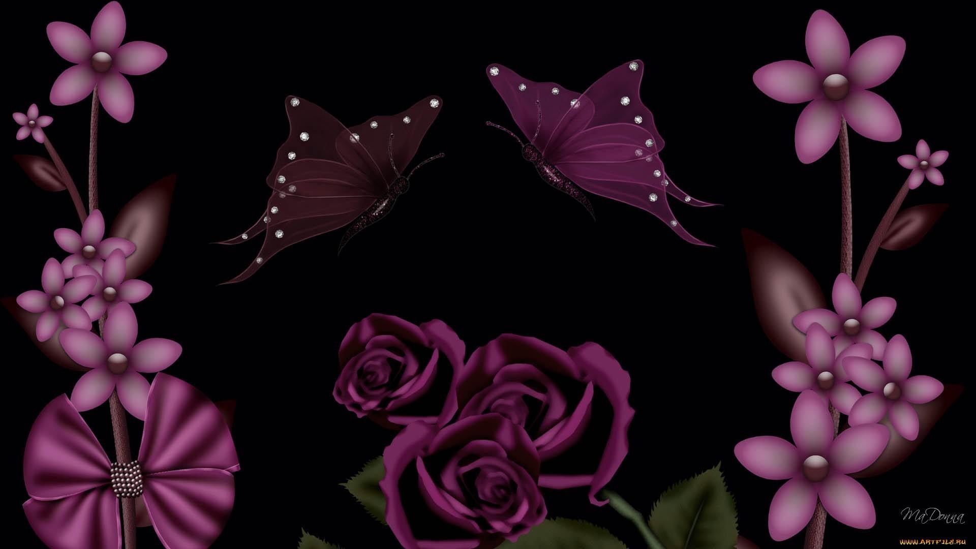 17729 скачать обои Бабочки, Цветы, Фон - заставки и картинки бесплатно