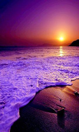 無料の壁紙をダウンロード21070:携帯電話用の風景, 日没, 海, ビーチ壁紙