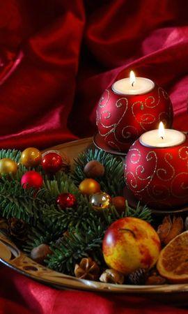 59827 завантажити шпалери Свята, Новий Рік, Різдво, Свічки, Хвоя, Голки, Частування, Лікує, Шовк - заставки і картинки безкоштовно
