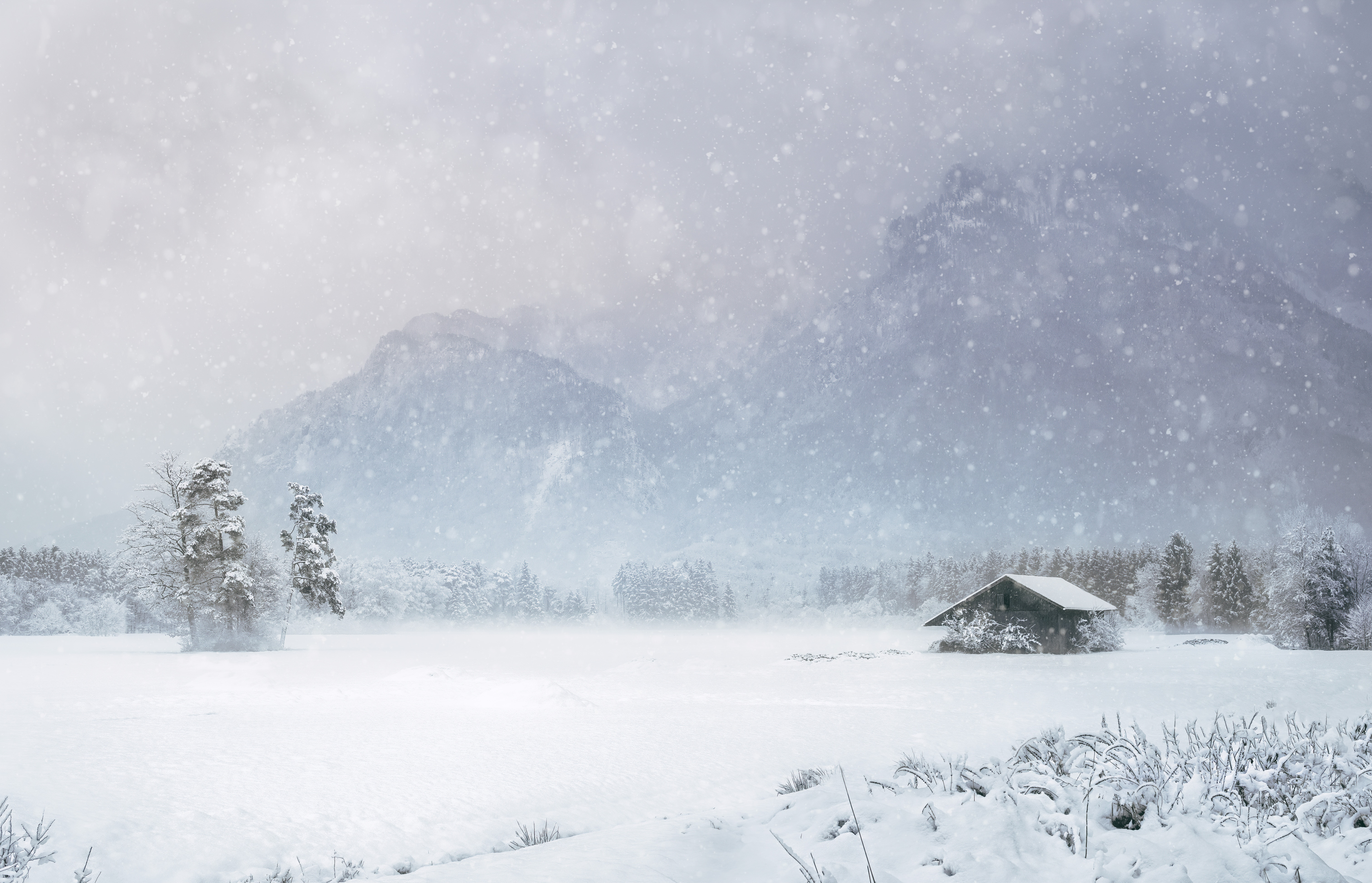 73164 Screensavers and Wallpapers Small House for phone. Download Winter, Nature, Mountains, Snow, Small House, Lodge, Snowstorm pictures for free