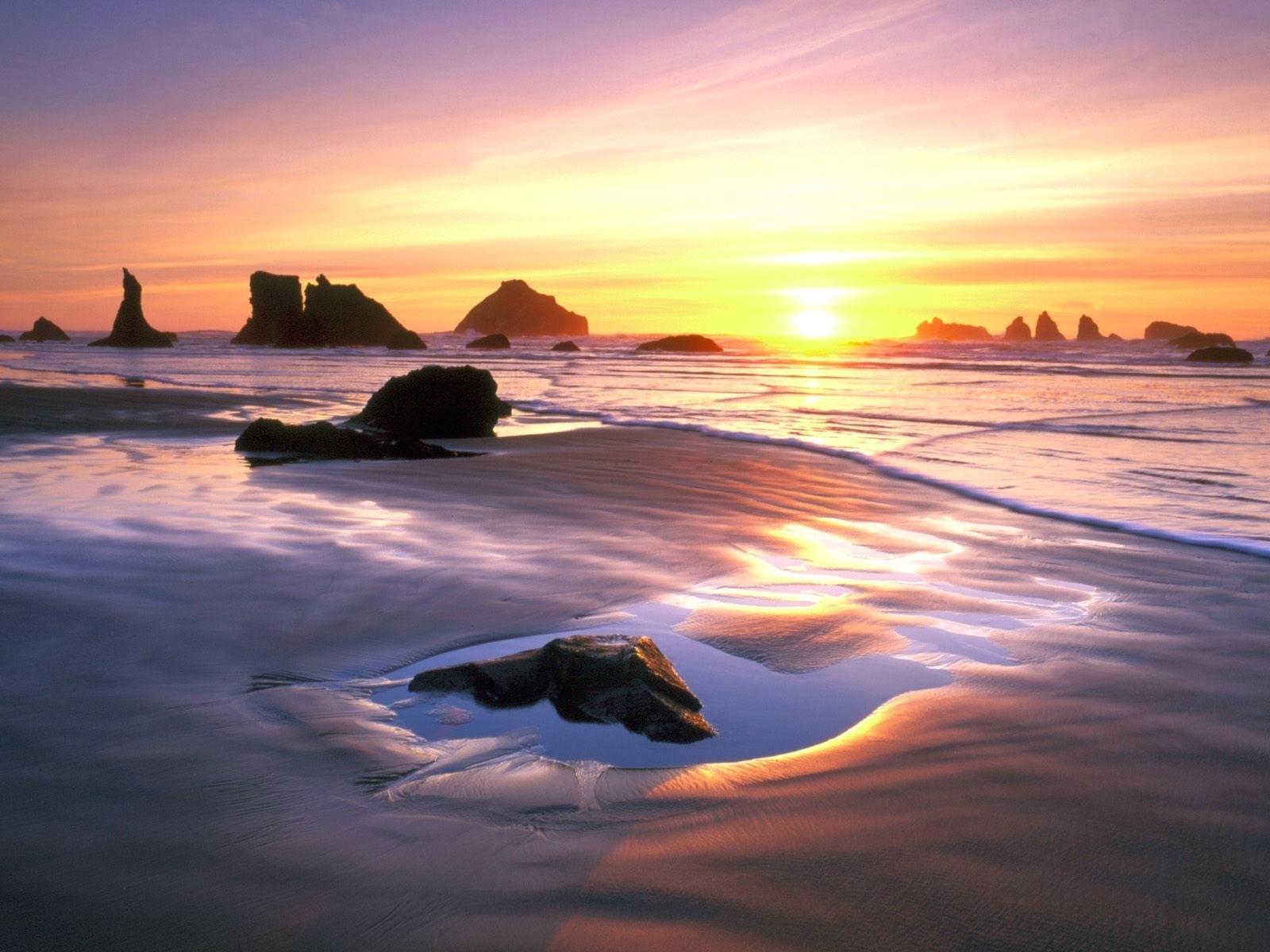 8666 скачать обои Пейзаж, Закат, Море, Солнце, Пляж - заставки и картинки бесплатно