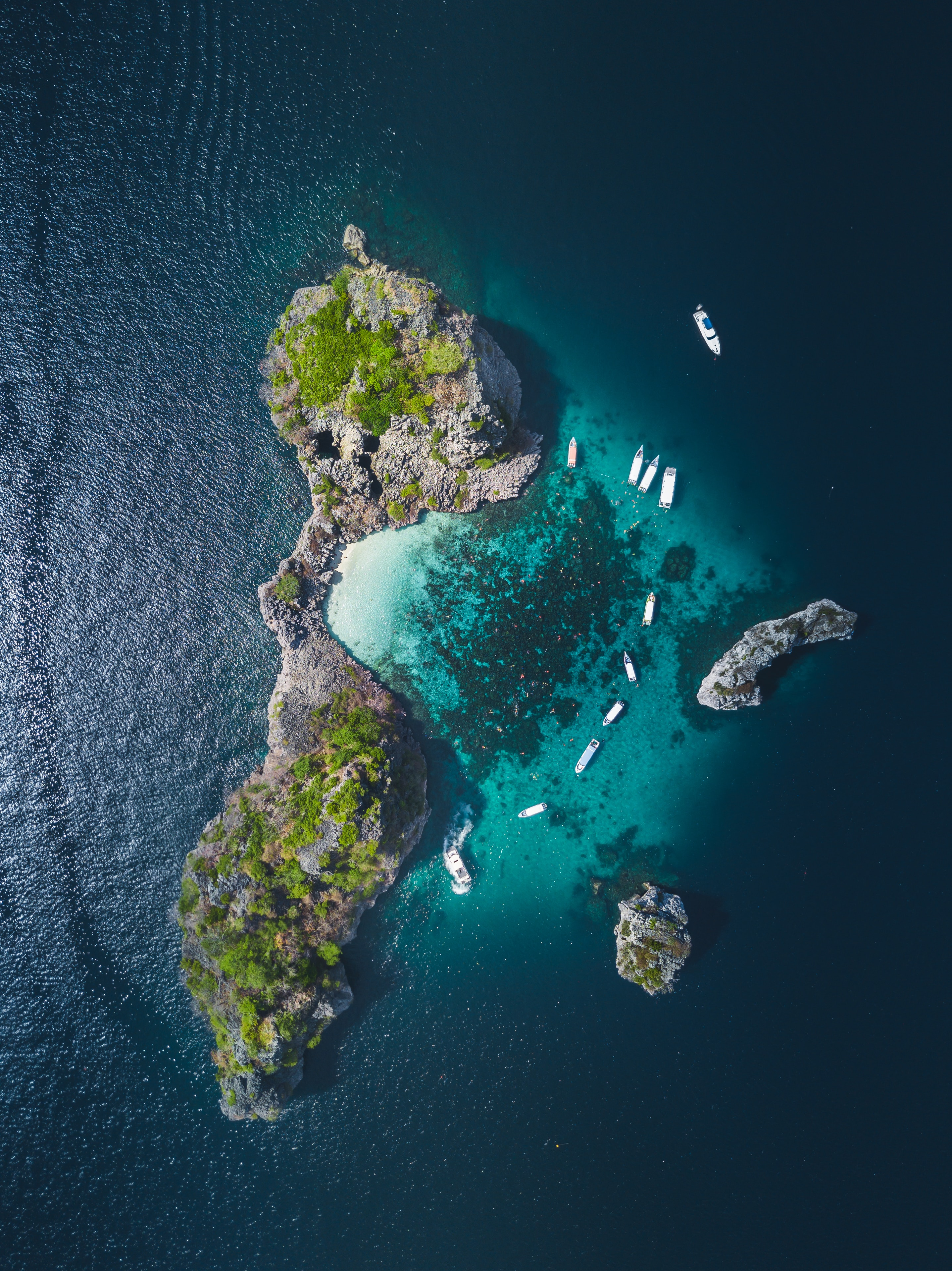 130237 Заставки и Обои Лодки на телефон. Скачать Природа, Остров, Океан, Вид Сверху, Лодки, Вода картинки бесплатно