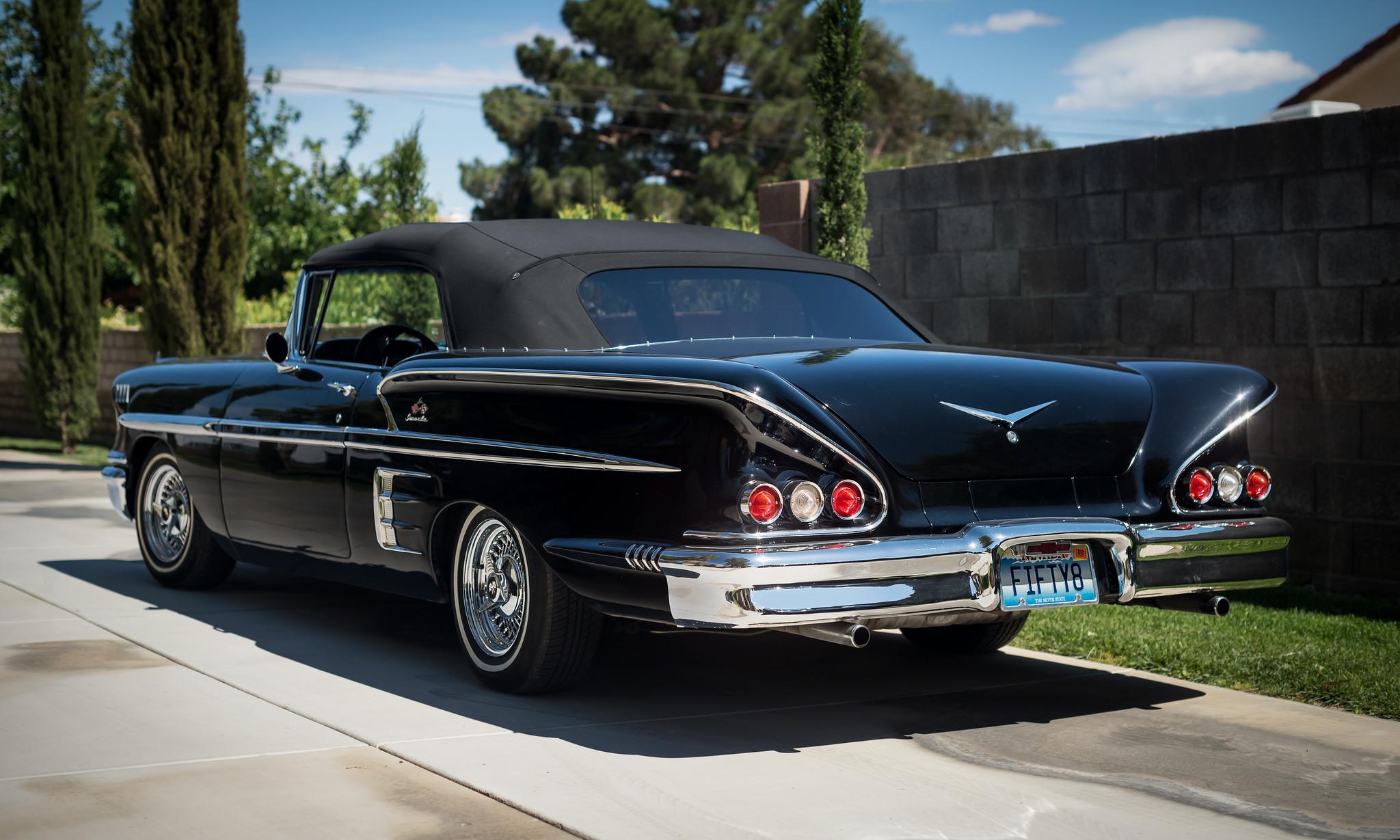 65538 скачать обои Тачки (Cars), Шевроле (Chevrolet), Chevy, 1958, Impala, Черный, Вид Сзади - заставки и картинки бесплатно