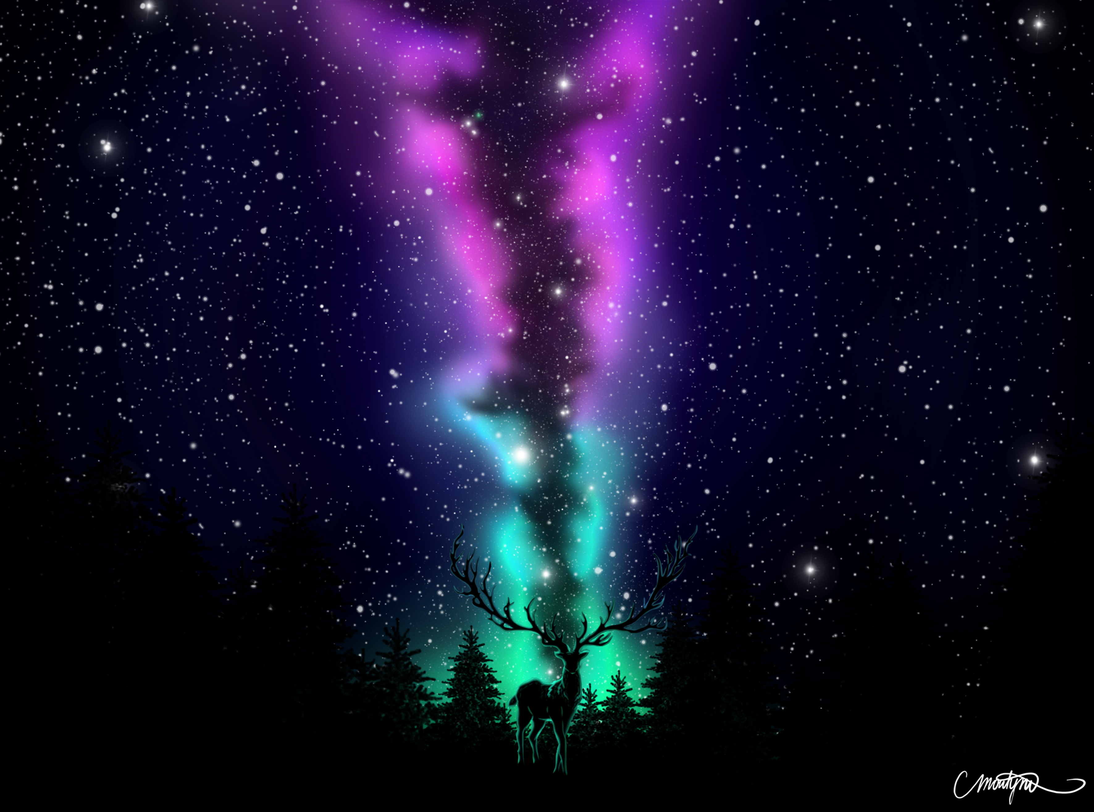 156383 download wallpaper Deer, Art, Dark, Forest, Northern Lights, Aurora Borealis screensavers and pictures for free