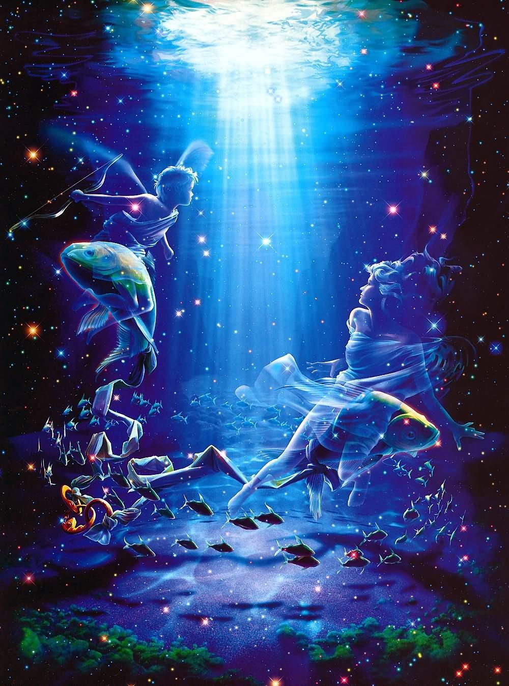 17385 Заставки и Обои Рыбы на телефон. Скачать Рыбы, Фэнтези, Космос картинки бесплатно
