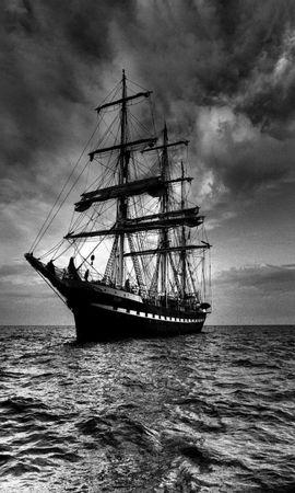 60686 скачать обои Корабль, Море, Паруса, Буя, Чб - заставки и картинки бесплатно