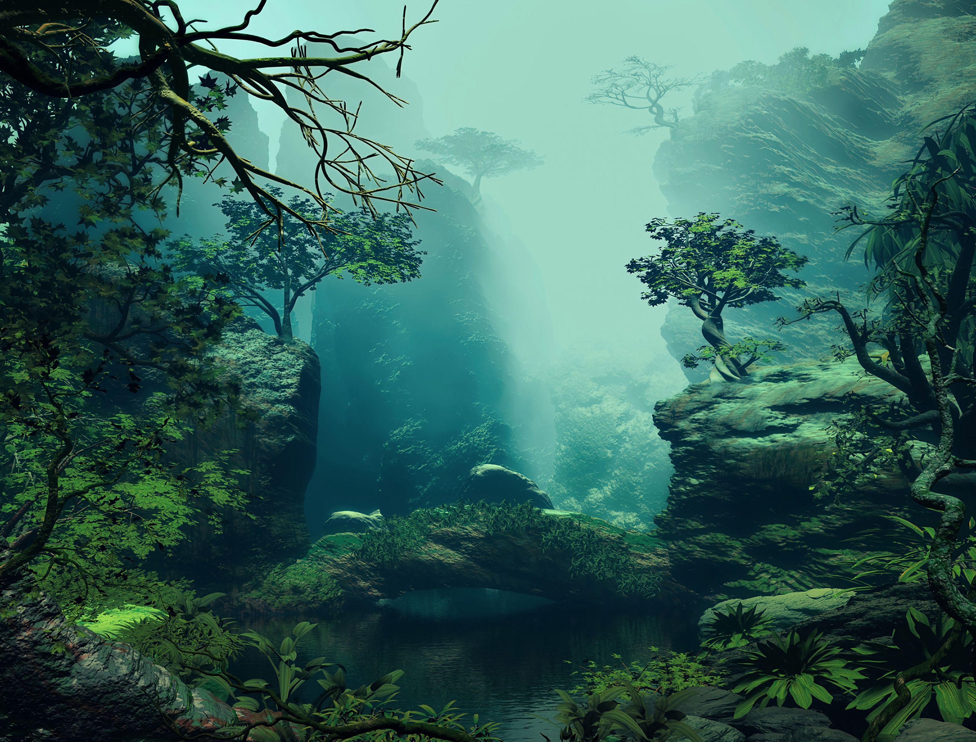 116968 скачать обои Лес, Деревья, Арт, Пейзаж - заставки и картинки бесплатно