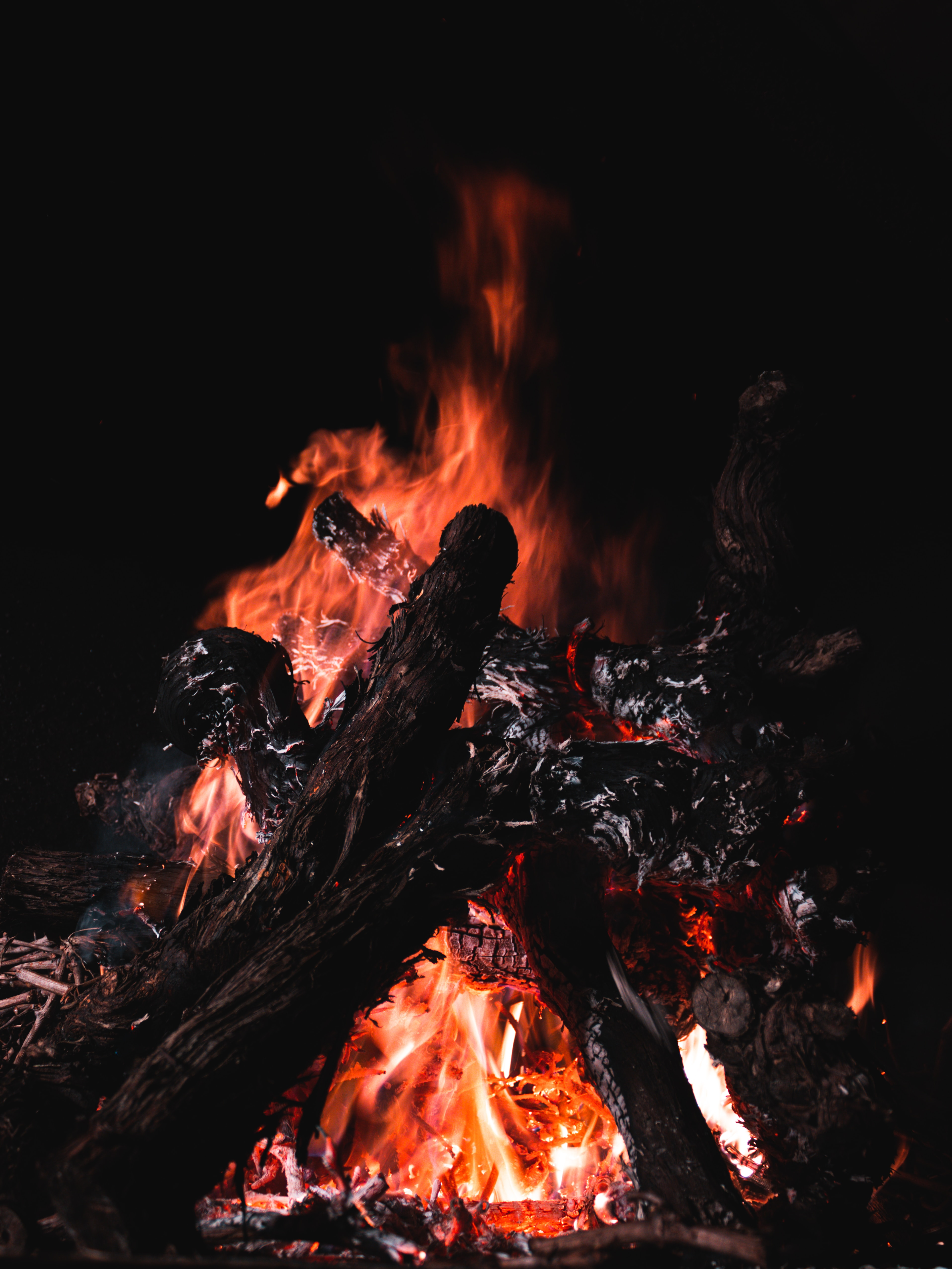 129791 Screensavers and Wallpapers Firewood for phone. Download Fire, Bonfire, Coals, Dark, Firewood pictures for free