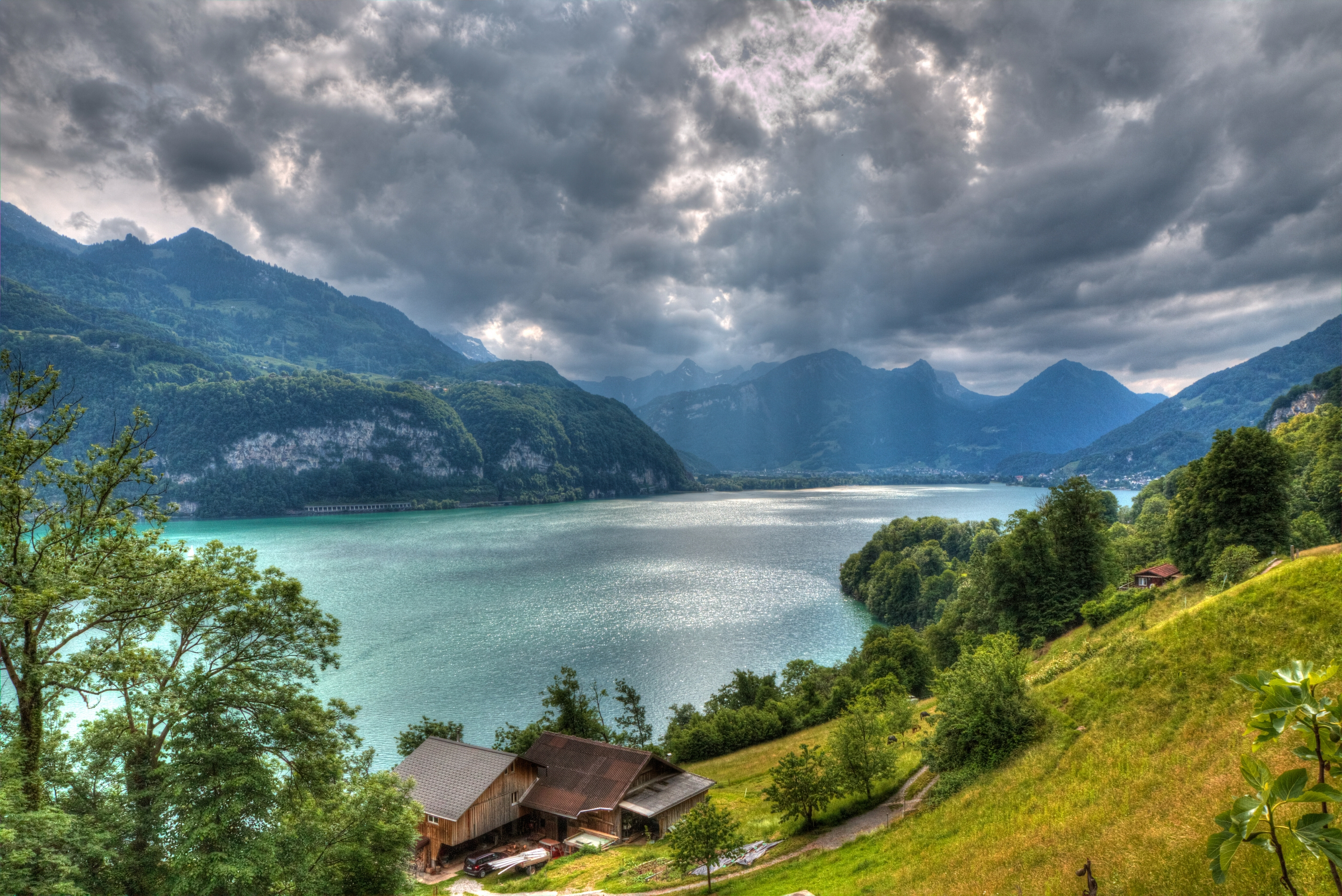 79942 скачать обои Вид Сверху, Швейцария, Природа, Альпы, Hdr, Озеро Валензее - заставки и картинки бесплатно