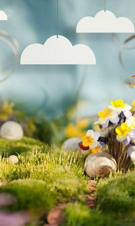 37045 скачать обои Цветы, Фон, Божьи Коровки - заставки и картинки бесплатно