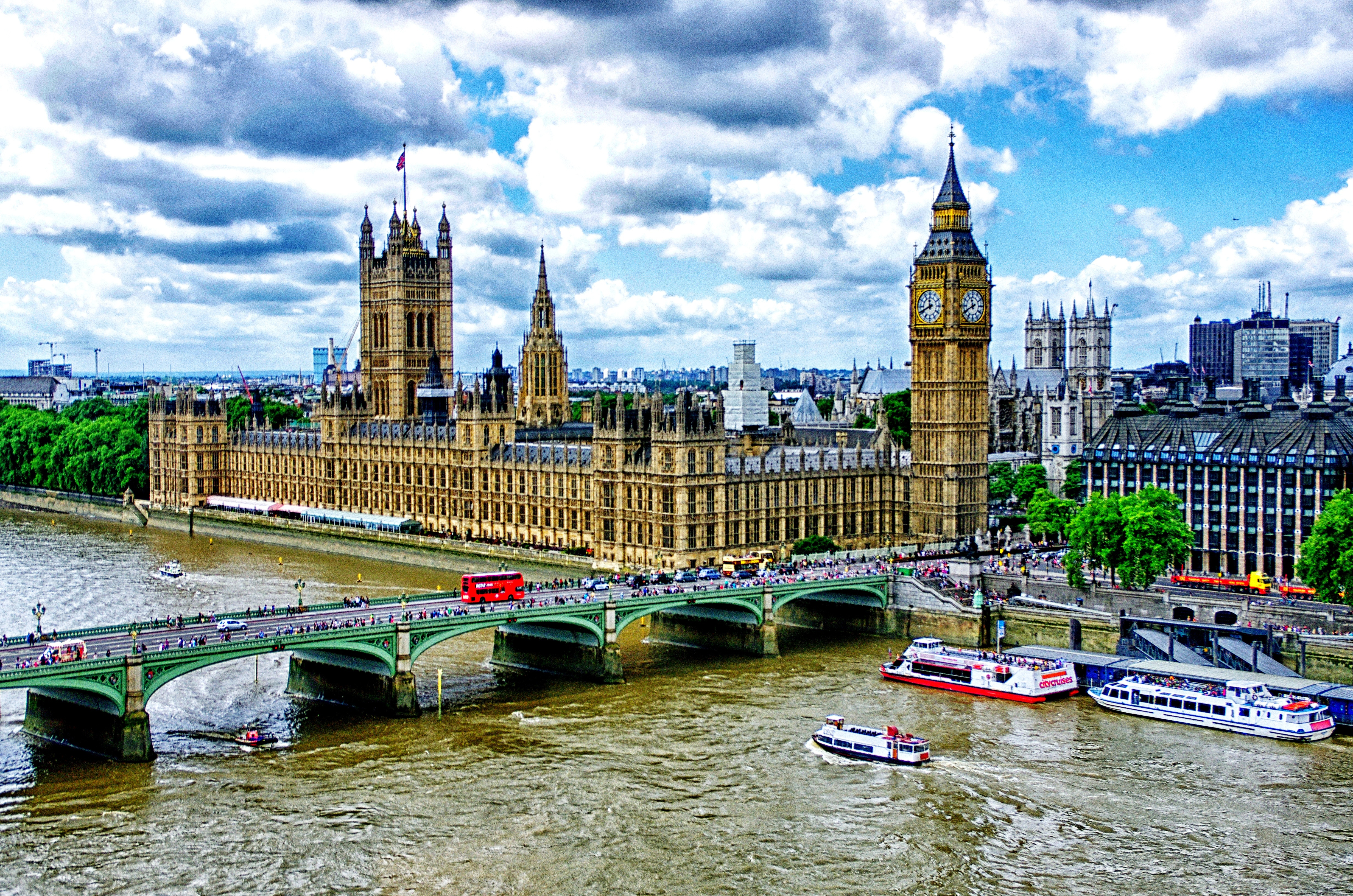 83942 download wallpaper Big Ben, London, Palace Of Westminster, Bridge, Rivers, Thames, Motor Ships, Ship, Hdr, Cities screensavers and pictures for free