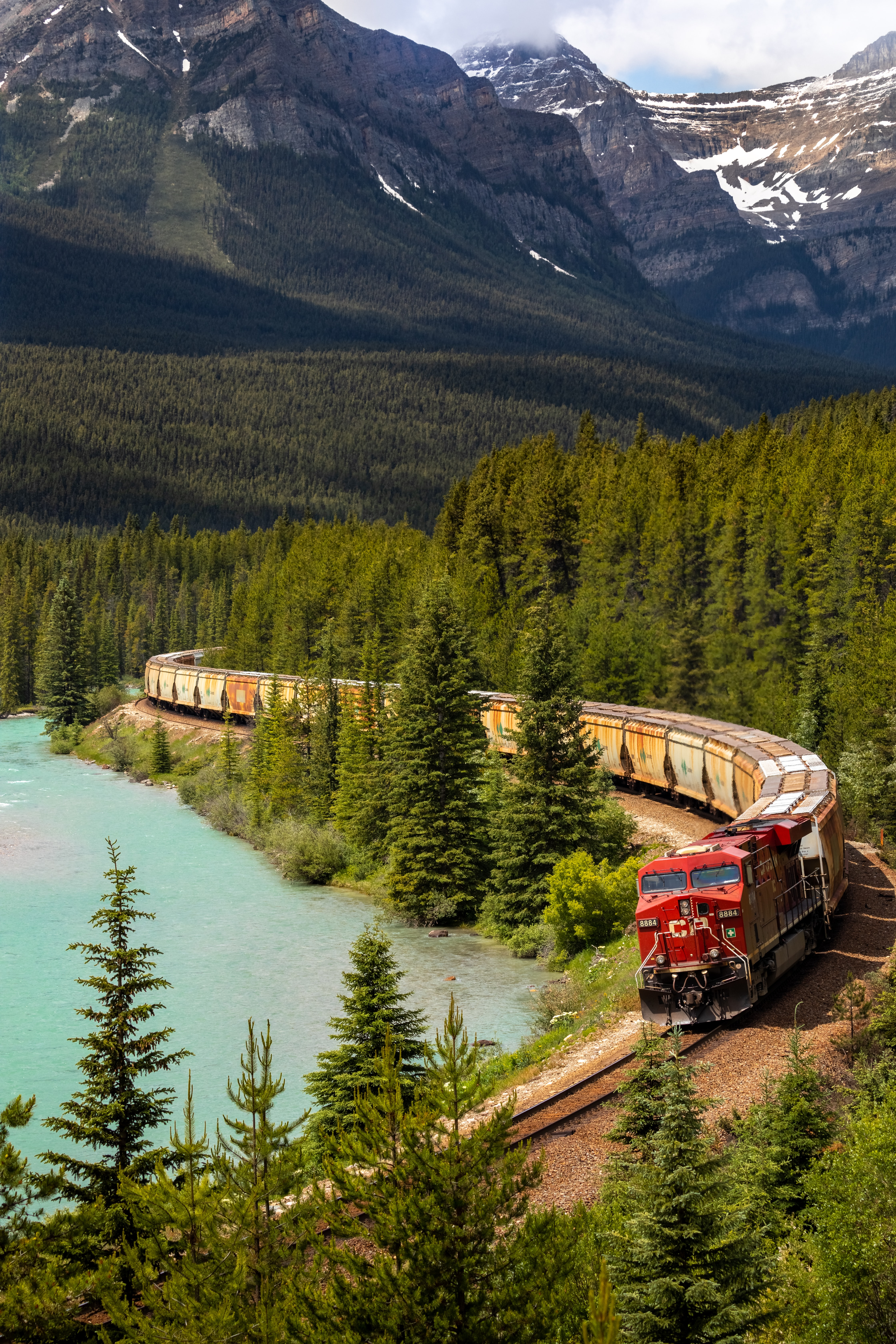 87015 download wallpaper Nature, Lake, Forest, Journey, Railway, Train screensavers and pictures for free