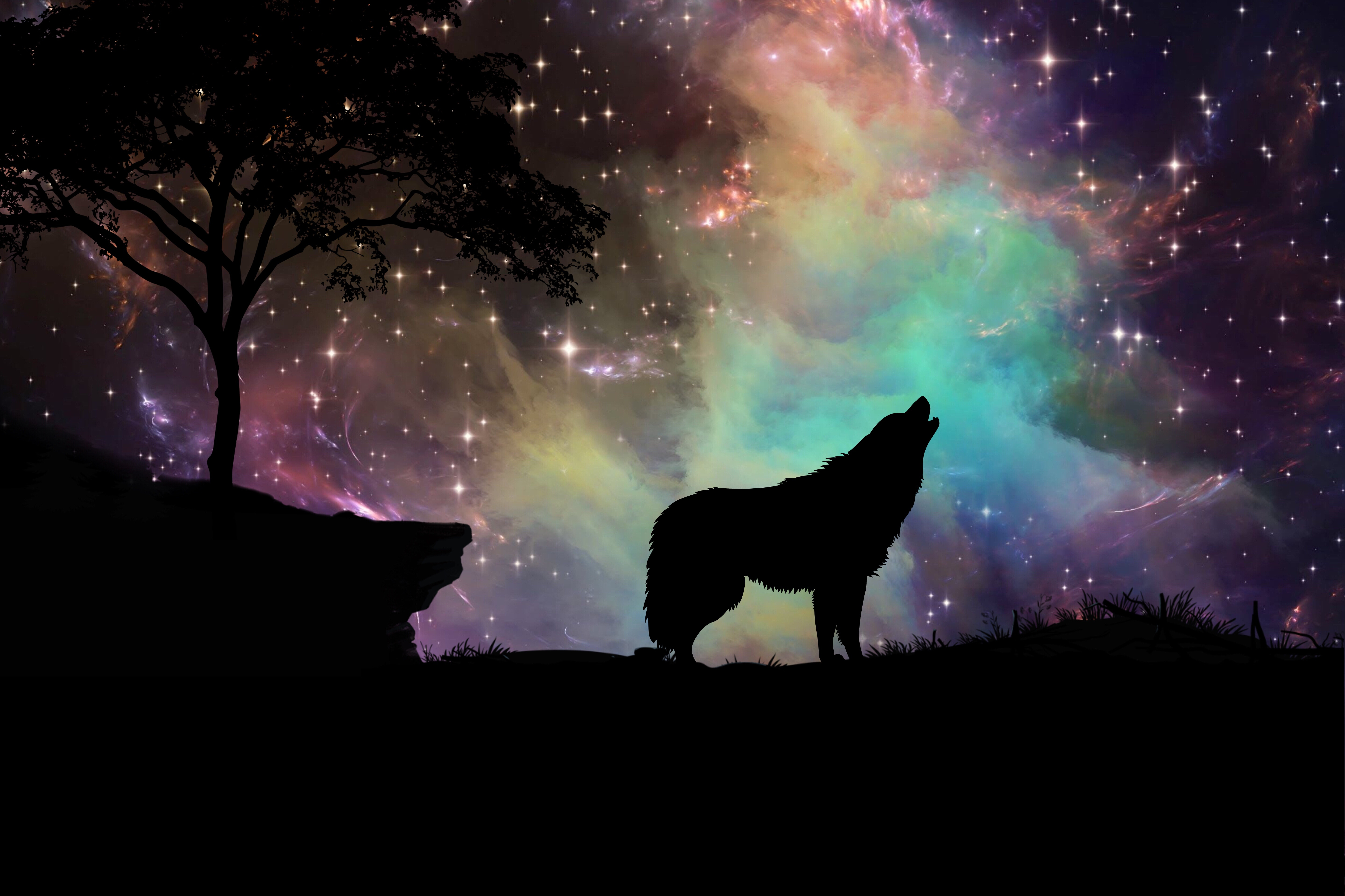 62032 download wallpaper Dark, Wolf, Starry Sky, Silhouette, Art screensavers and pictures for free