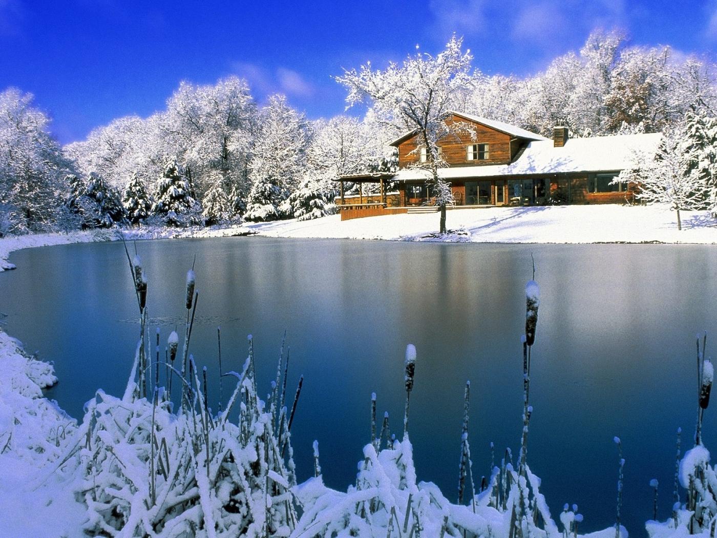 24235 скачать обои Пейзаж, Зима, Дома, Снег, Озера - заставки и картинки бесплатно
