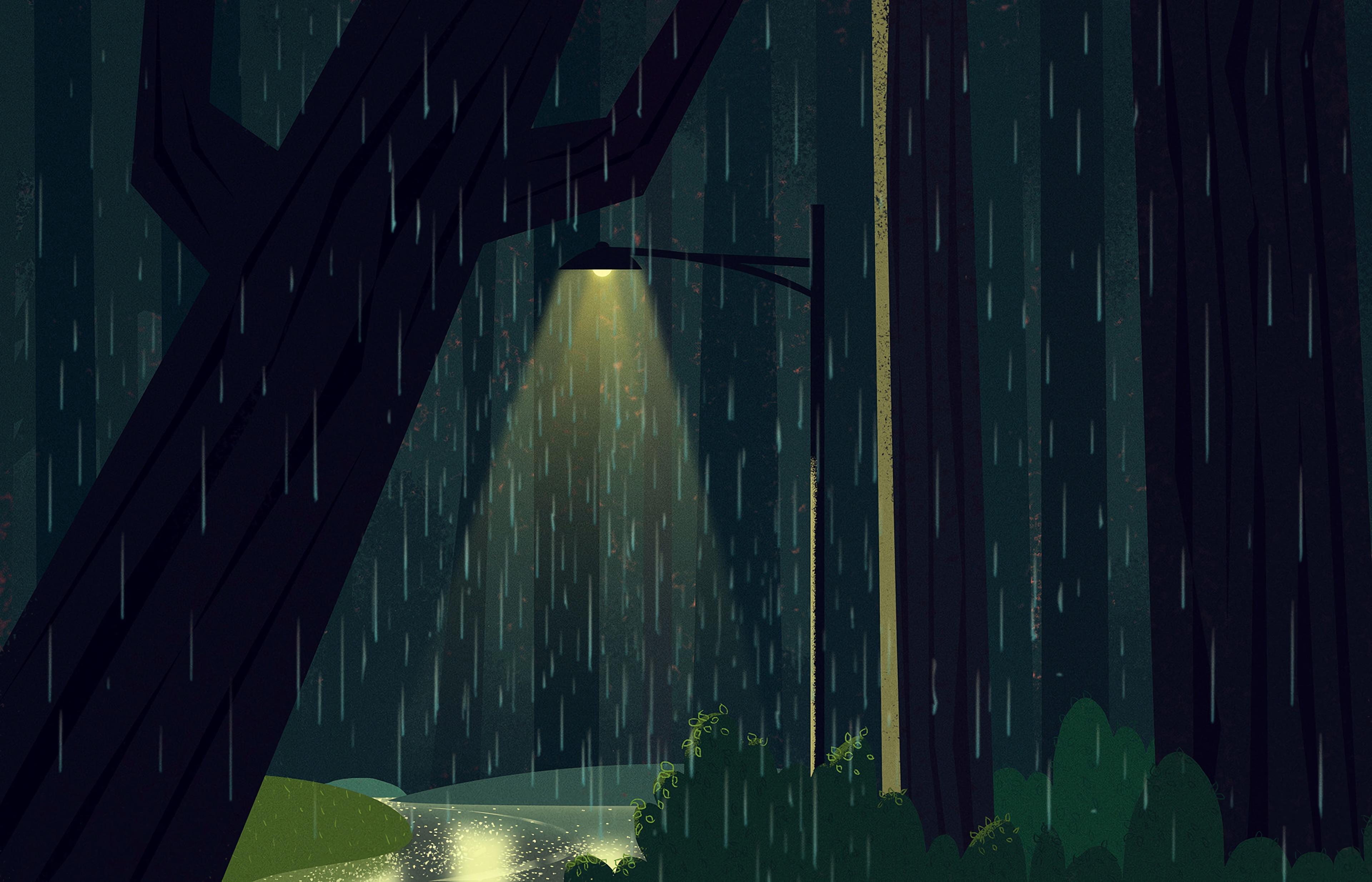 150120 download wallpaper Lamp, Lantern, Glow, Rain, Sad, Sadly, Art screensavers and pictures for free