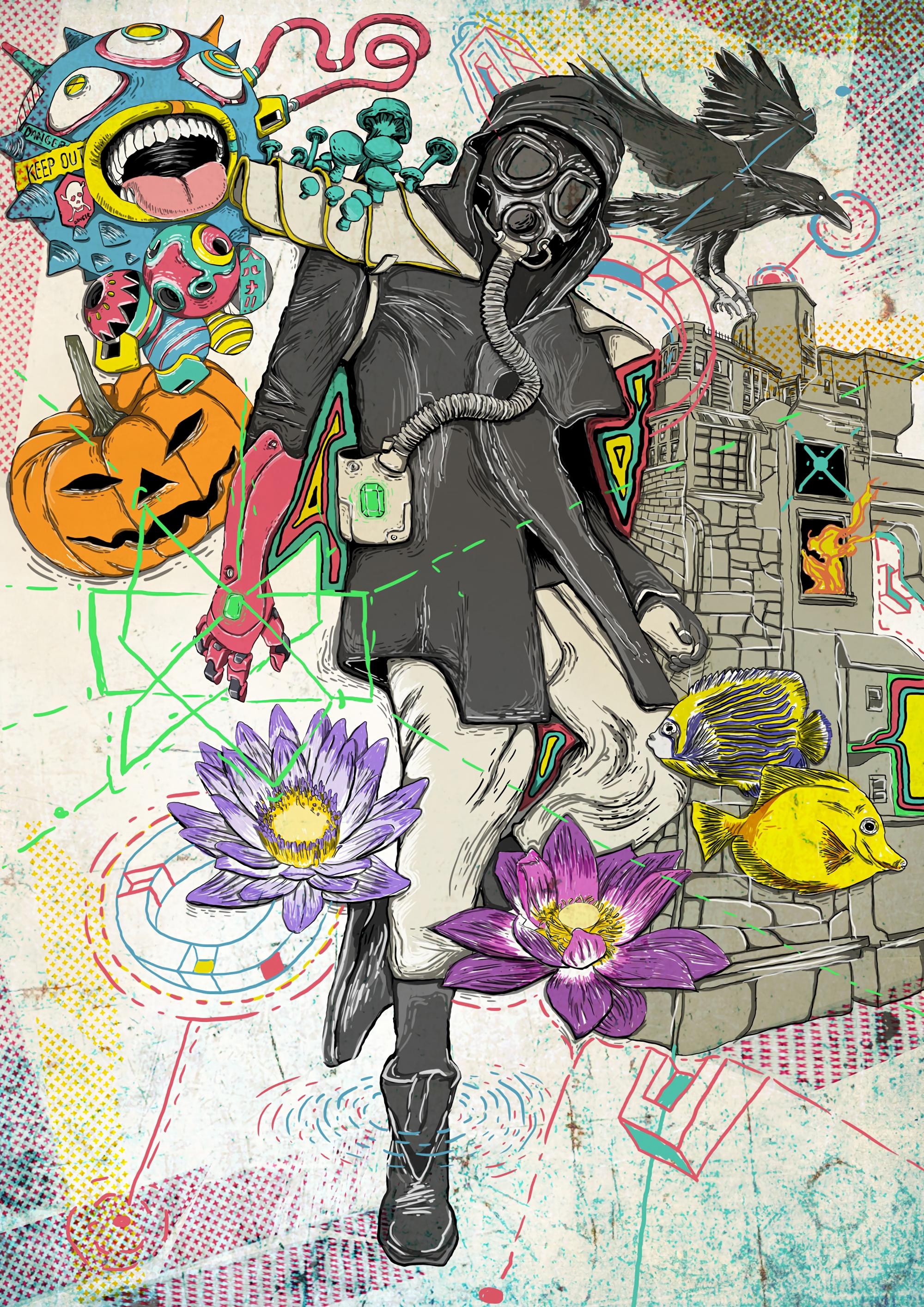 61673 Salvapantallas y fondos de pantalla Fantasía en tu teléfono. Descarga imágenes de Máscara, Máscara Antigás, Humano, Persona, Arte, Cuervo, Loto, Sueños, Ensueño, Fantasía, Peces gratis