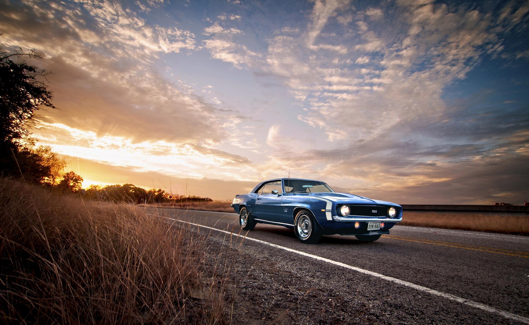 97766 скачать обои Тачки (Cars), Ss, Classic, American, Camaro, Шевроле (Chevrolet), 1969, Синий - заставки и картинки бесплатно
