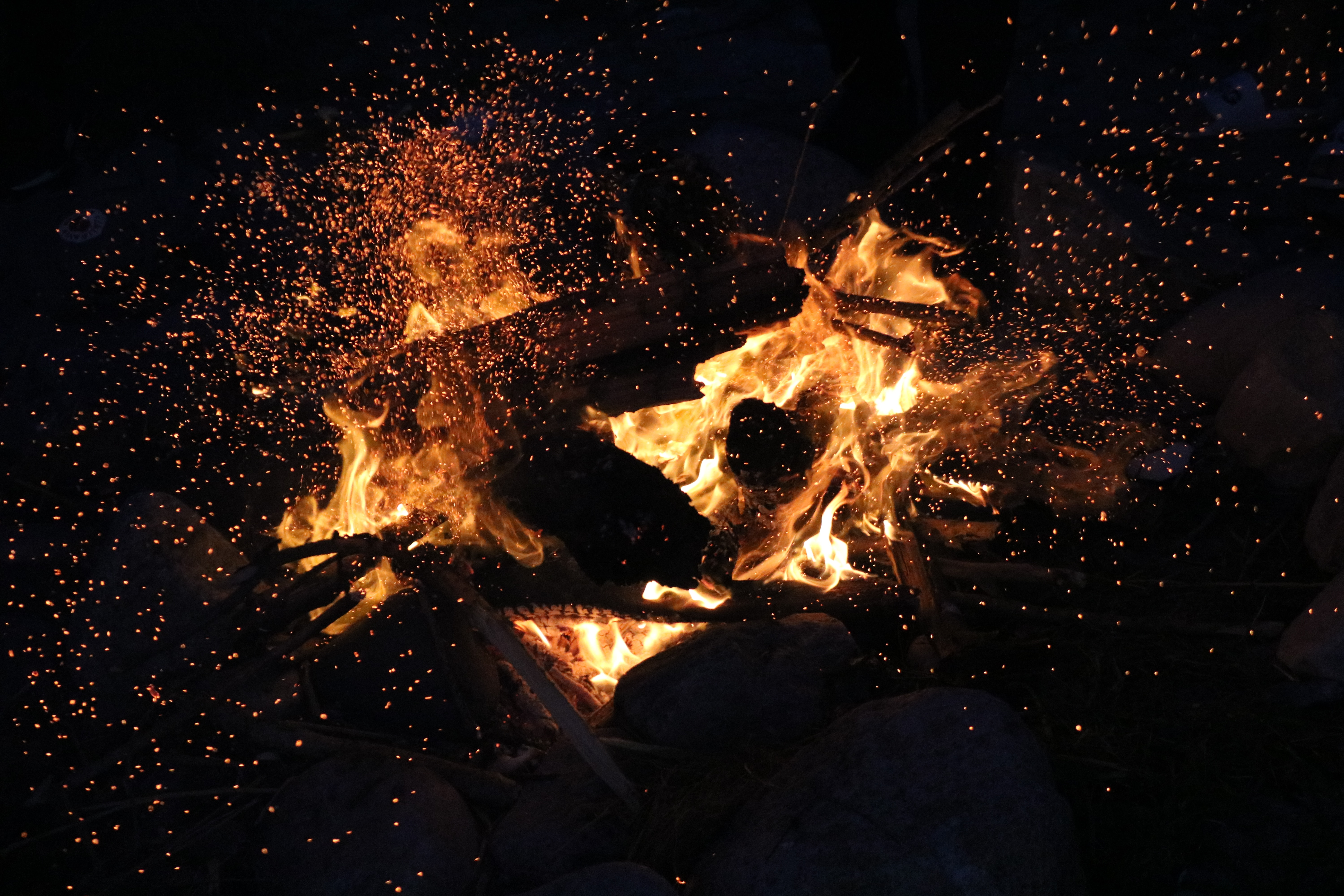 136923 Screensavers and Wallpapers Bonfire for phone. Download Fire, Bonfire, Dark, Flame, Sparks pictures for free