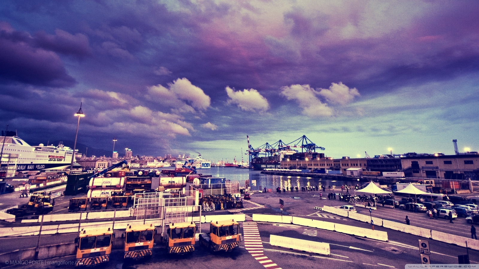 18539 скачать обои Пейзаж, Города, Небо, Море, Облака - заставки и картинки бесплатно