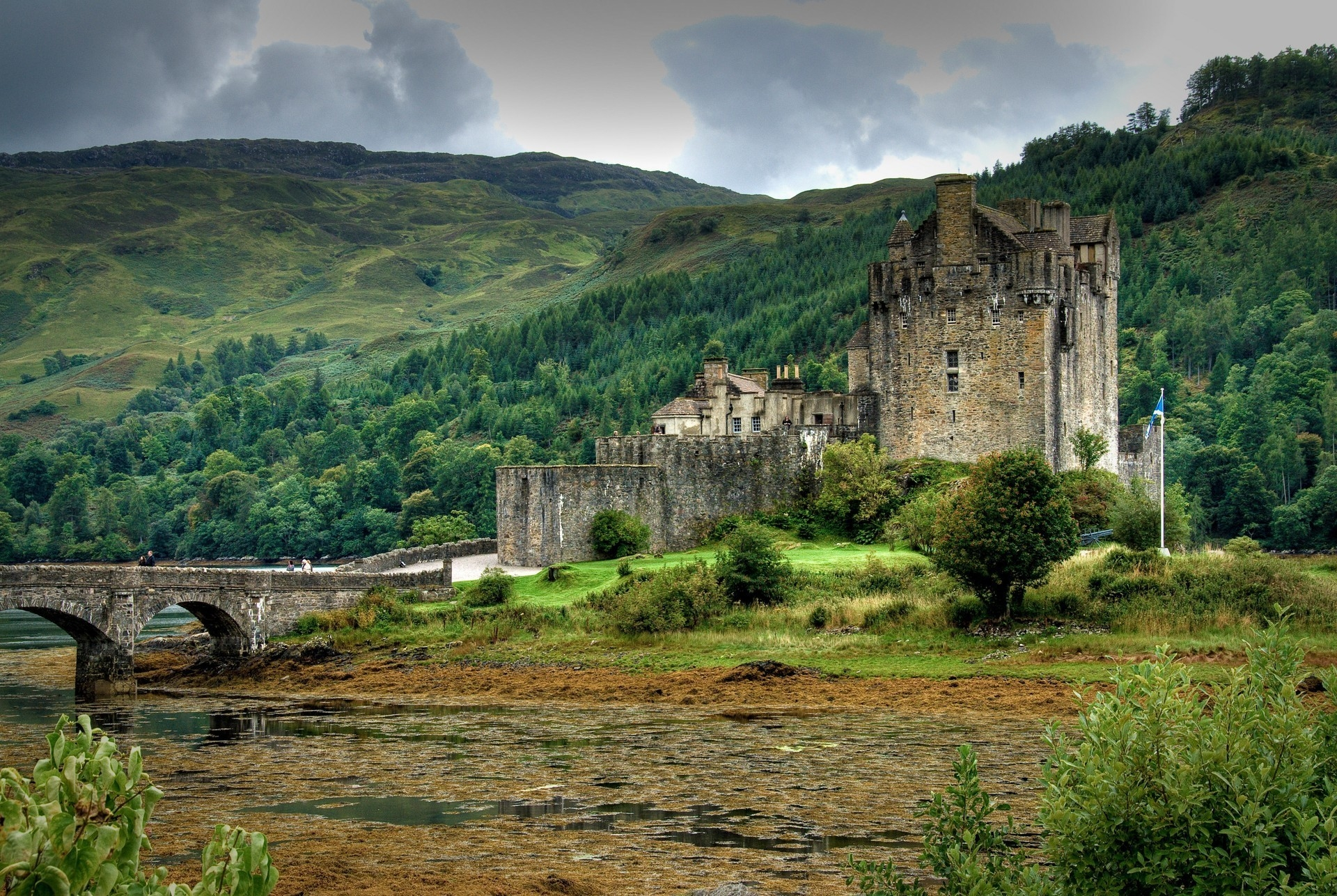 114547 Screensavers and Wallpapers Lock for phone. Download Nature, Trees, Mountains, Lock, Lake, Forest, Bridge, Scotland pictures for free
