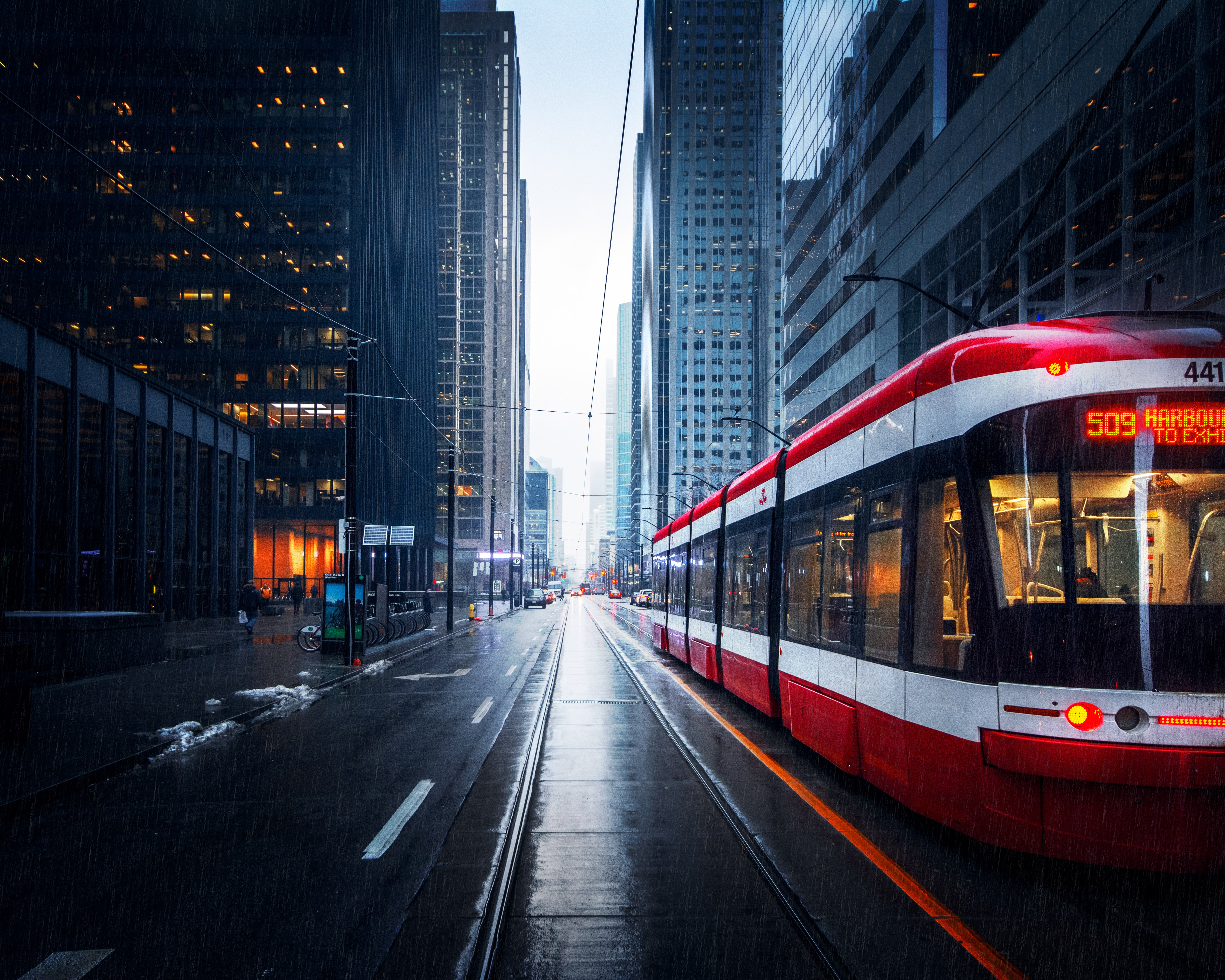 95156 Screensavers and Wallpapers Cities for phone. Download Cities, Rain, City, Building, Street, Tram pictures for free