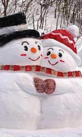 107577 скачать обои Праздники, Снег, Зима, Объятия, Снеговики - заставки и картинки бесплатно
