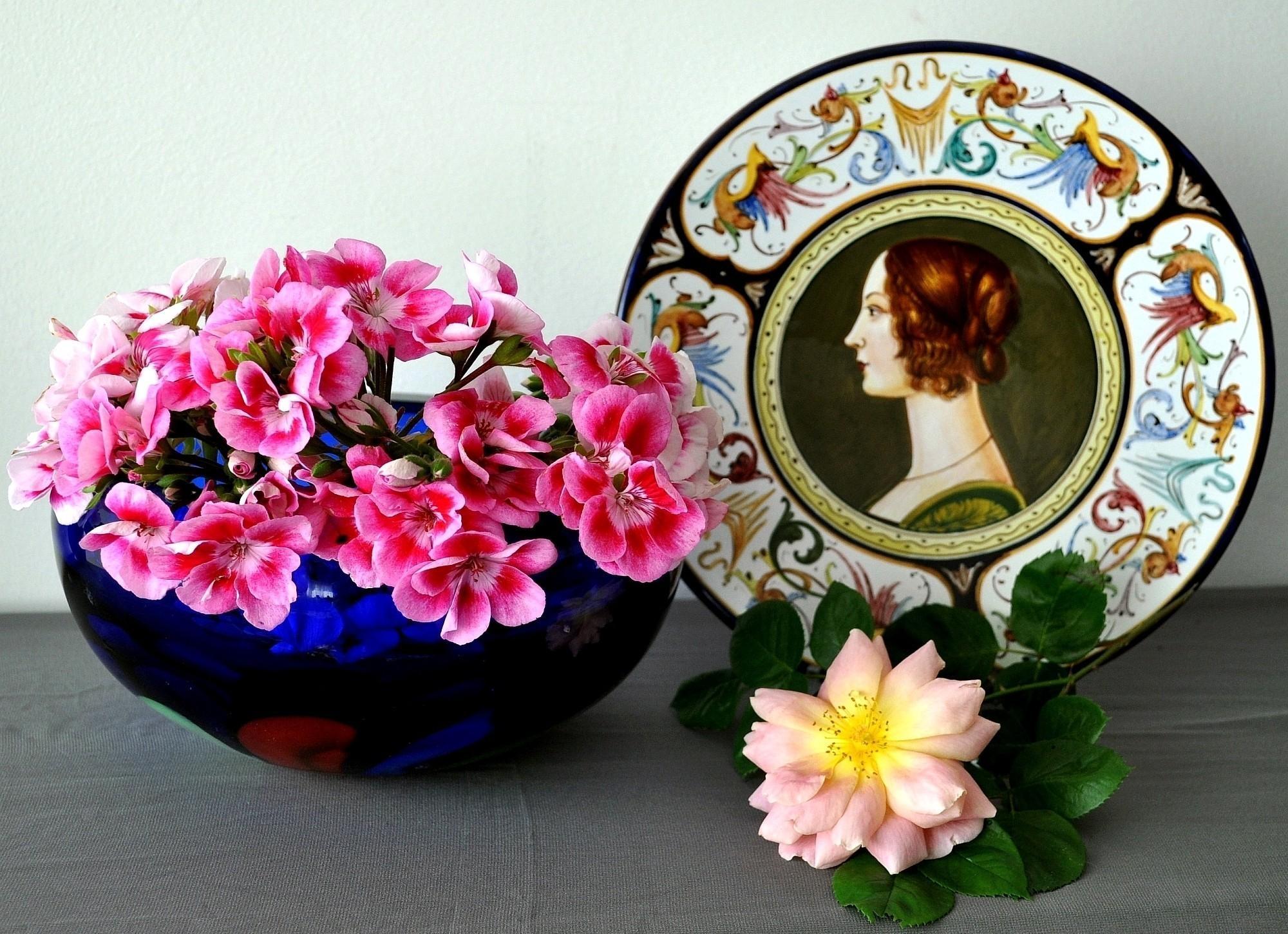 158101 скачать обои Цветы, Герань, Тарелка, Профиль, Поверхность, Розы - заставки и картинки бесплатно