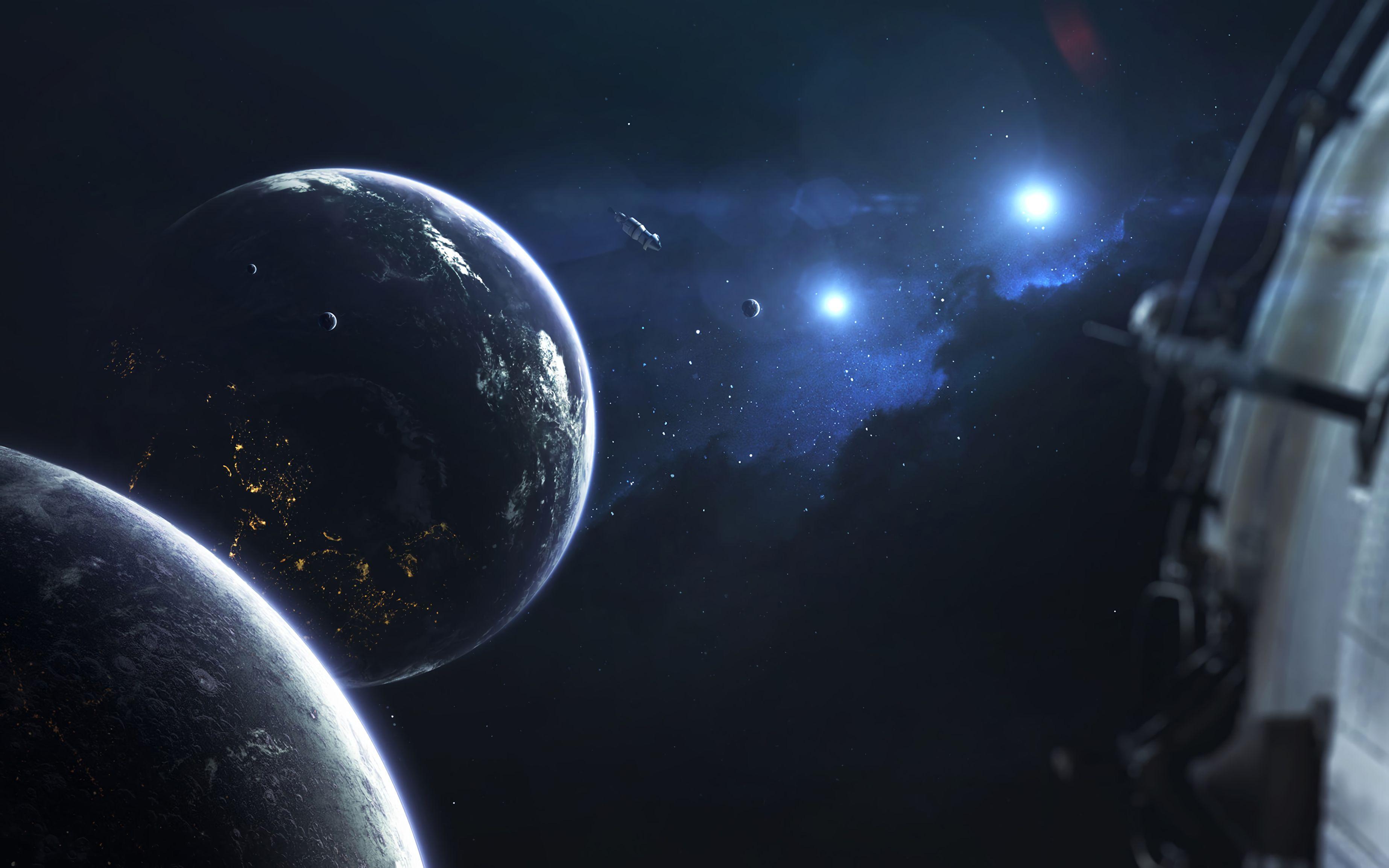 142745 обои 2160x3840 на телефон бесплатно, скачать картинки Планеты, Космос, Орбита, Спутник 2160x3840 на мобильный