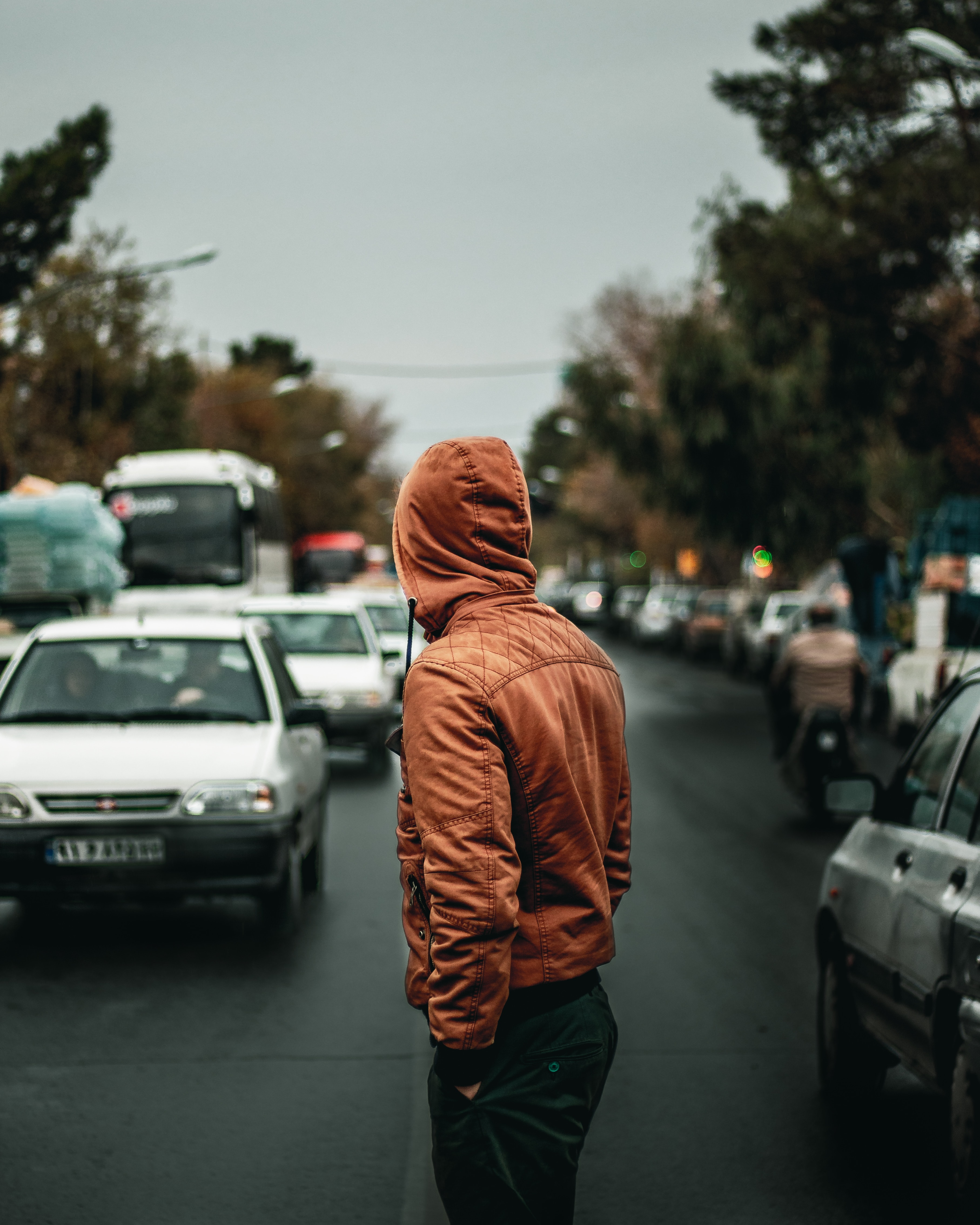 153969 Screensavers and Wallpapers Road for phone. Download Human, Auto, Miscellanea, Miscellaneous, Road, Person, Street, Hood pictures for free
