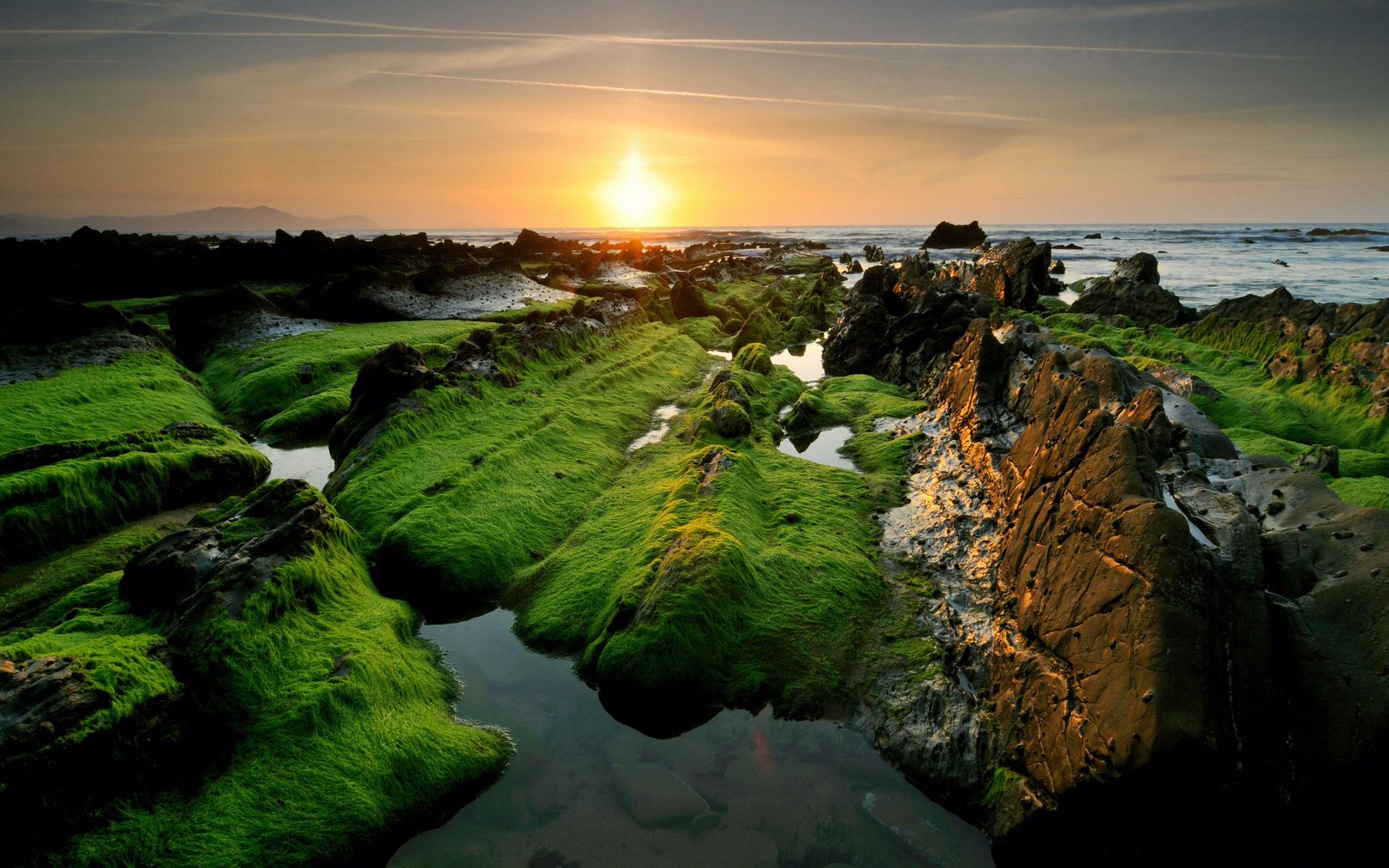 26891 免費下載壁紙 景观, 日落, 山, 海 屏保和圖片